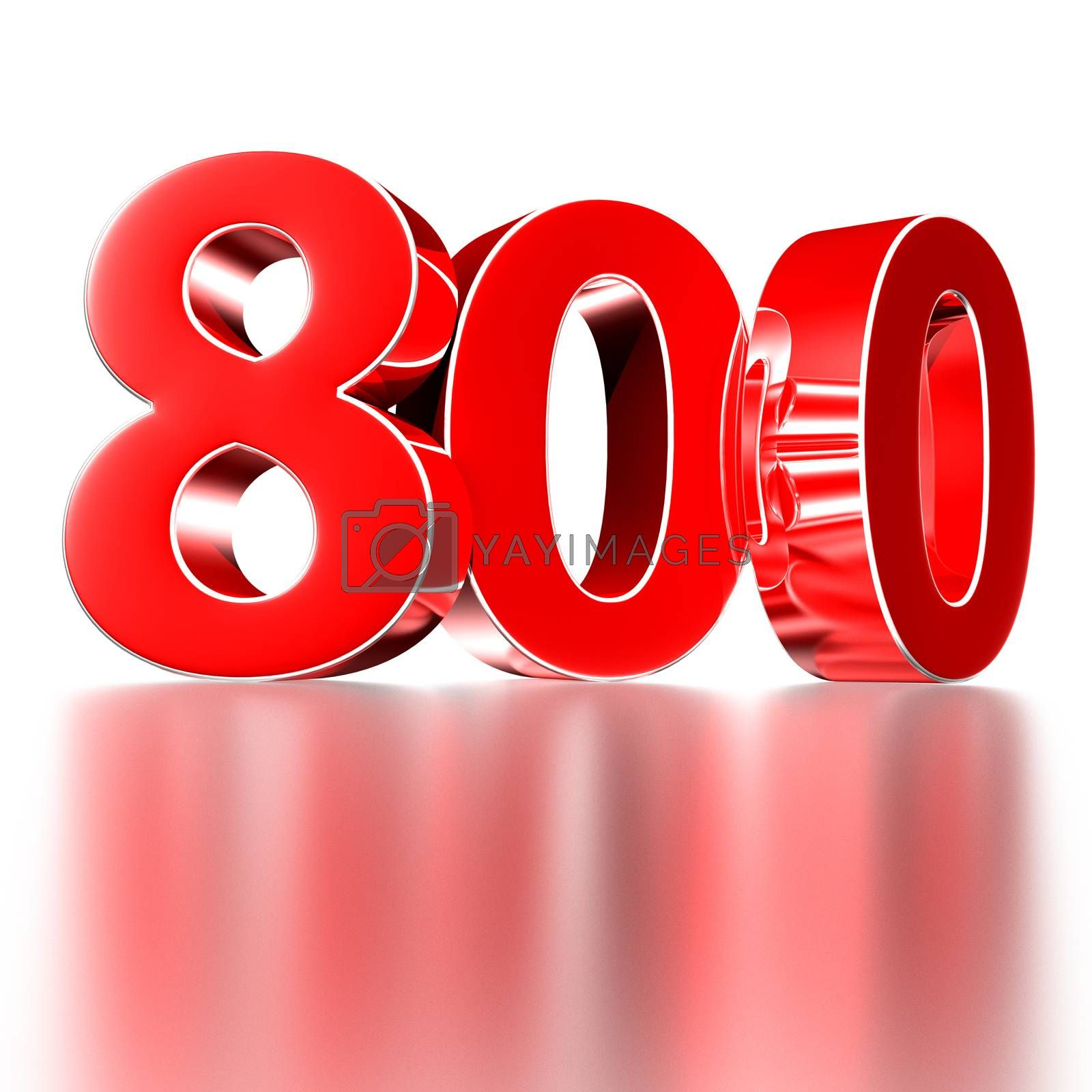 3D illustration Red number 800 isolated on a white background there is a reflection.(with Clipping Path).