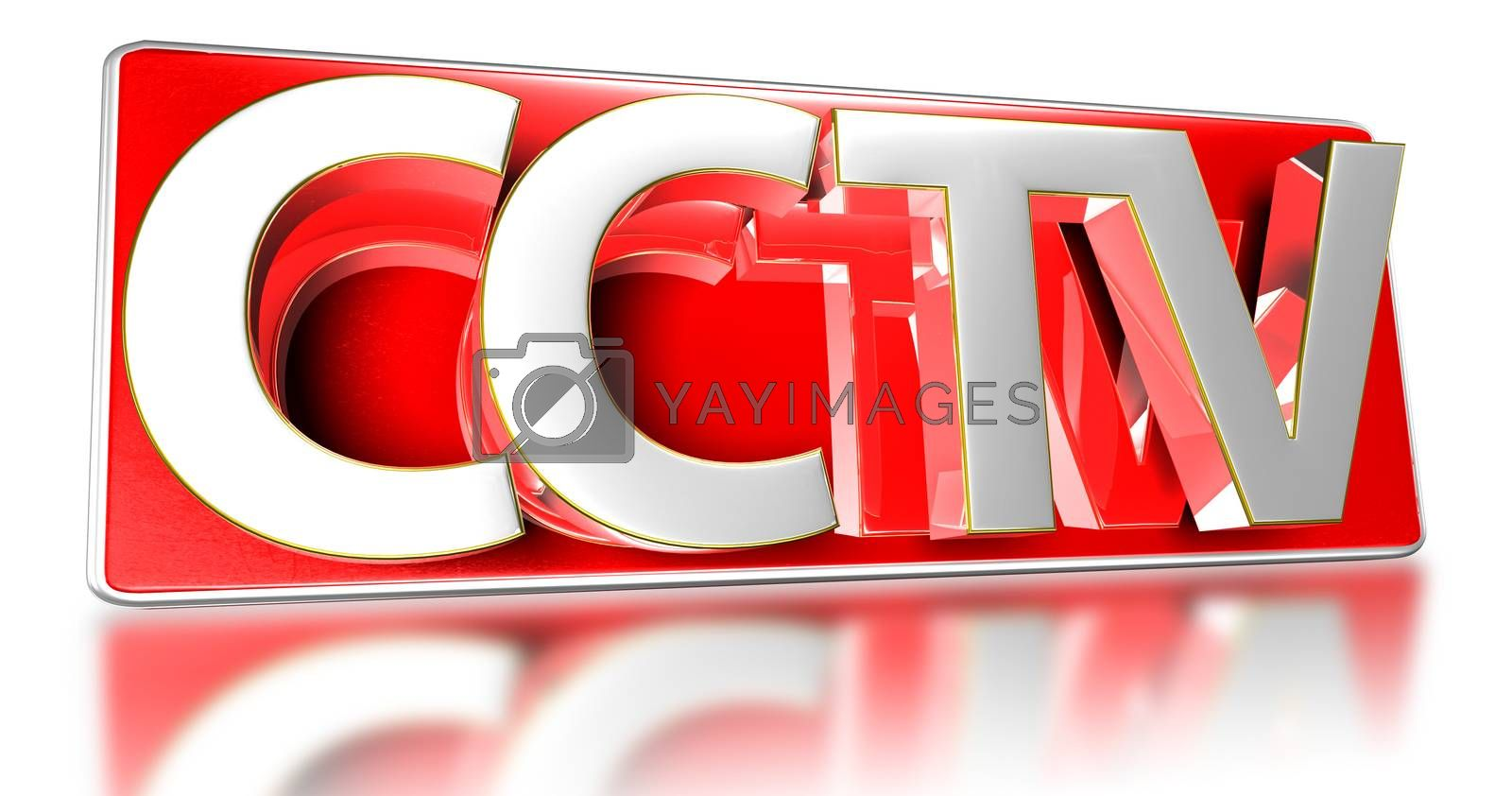 3D illustration Signs CCTV isolated on a white background.(with Clipping Path)