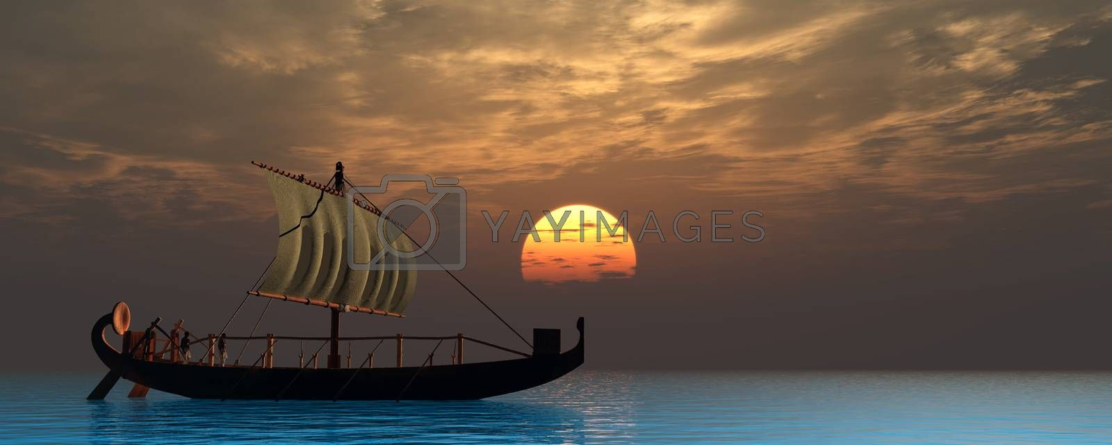 Two boatmen sail on a quiet ocean in an ancient historical Egyptian sailing ship as the sun sets at the horizon.