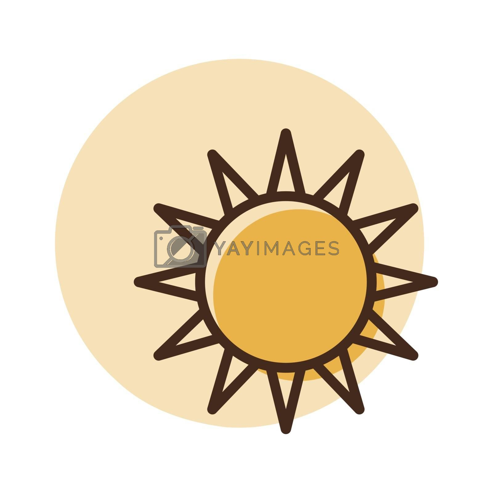 Sun vector icon. Weather sign. Graph symbol for travel and tourism web site and apps design, logo, app, UI