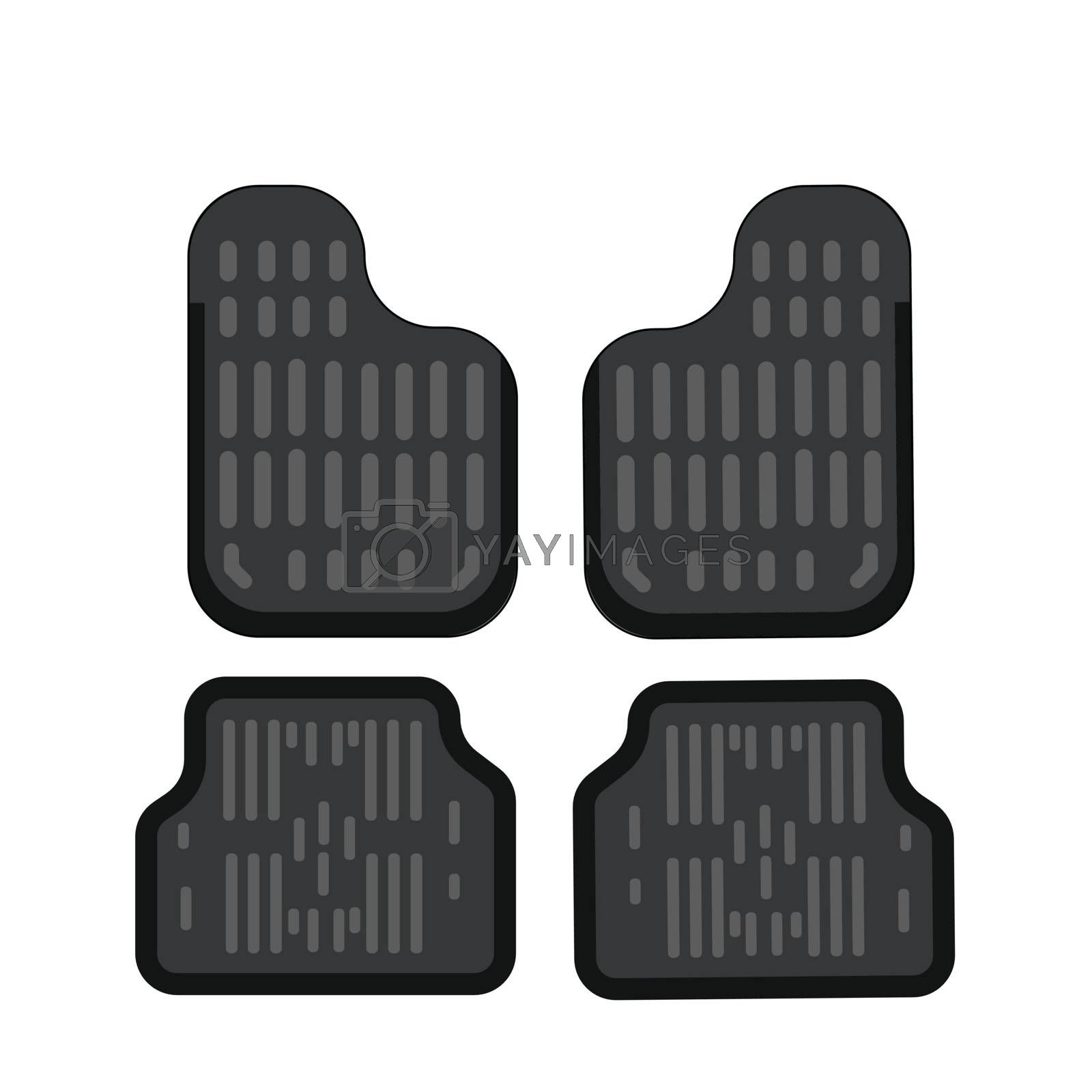 Car mats. Car floor carpet icon. Flat vector illustration. Rubber car mats under feet