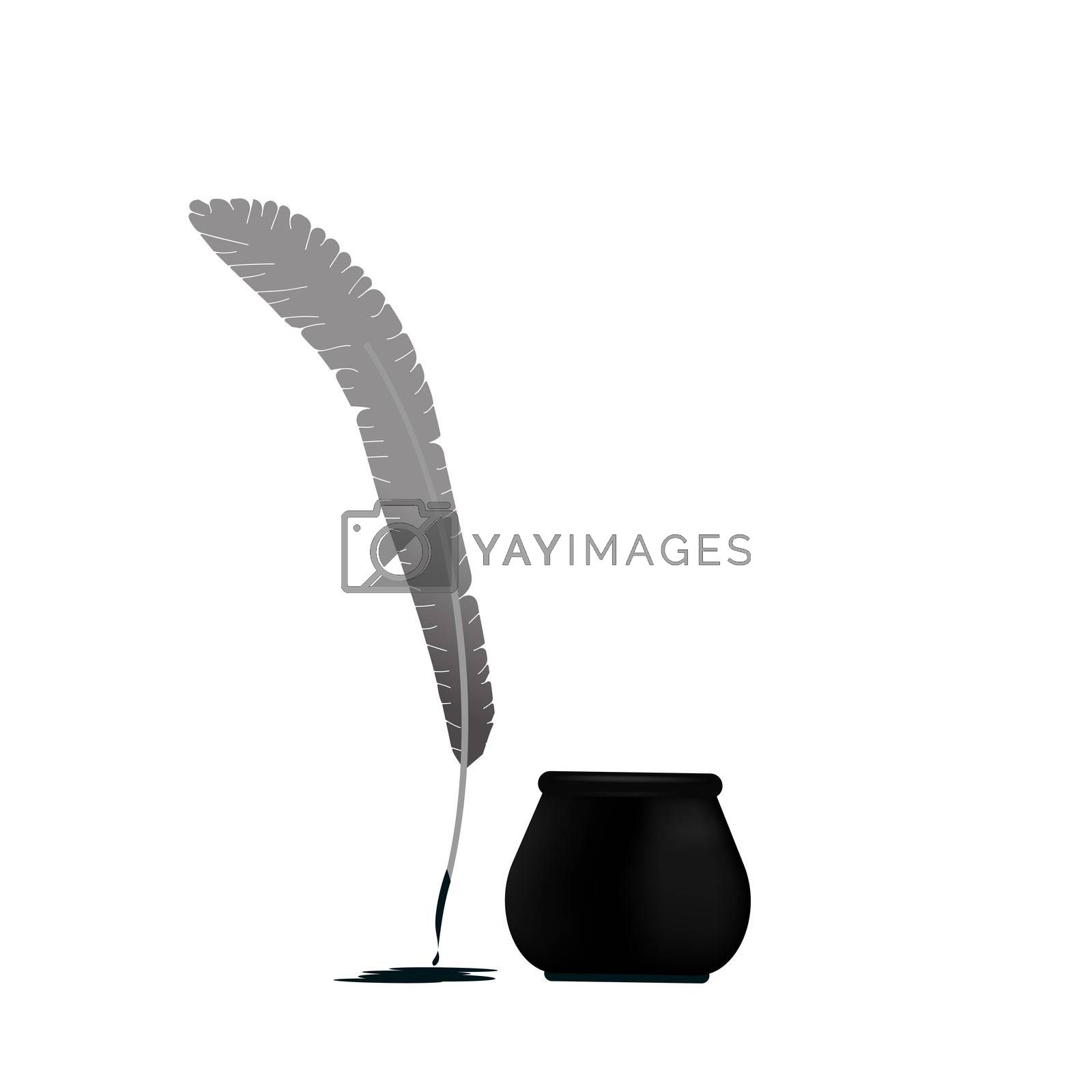 Ink with pen icon isolated on white background illustration.