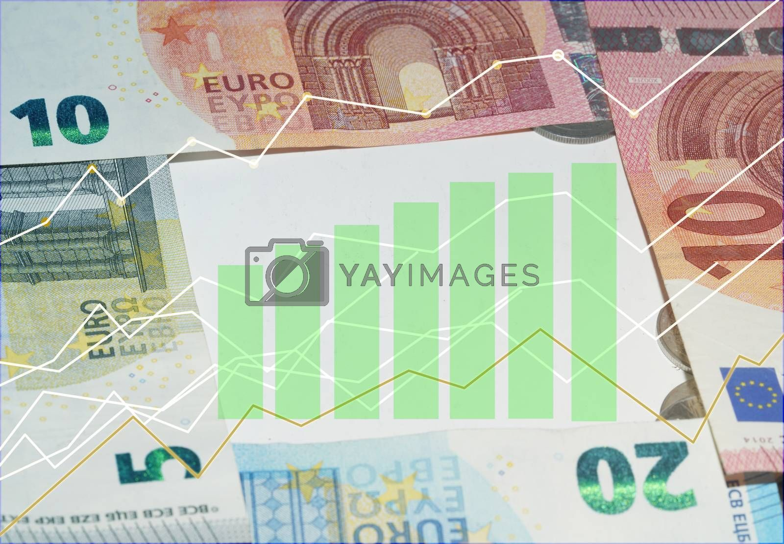 Investment diagram of profitable euro banknotes and saving money.