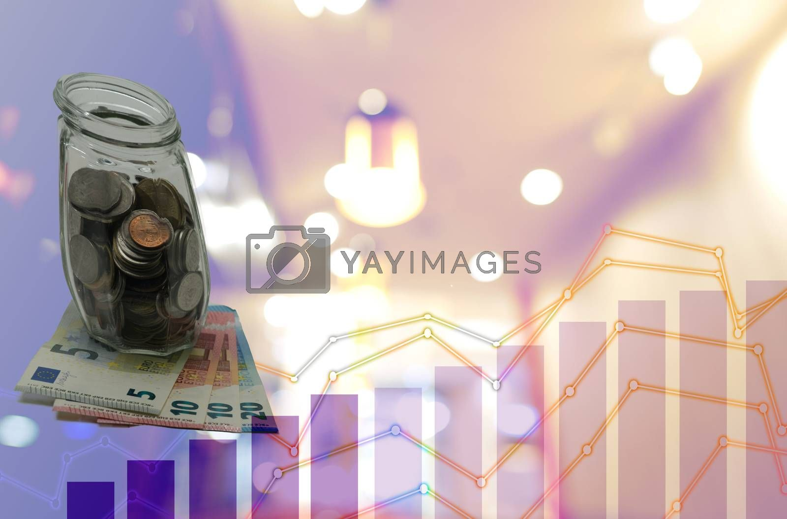 Abstract money, coins, and euro notes, profitable investment, and money-saving.