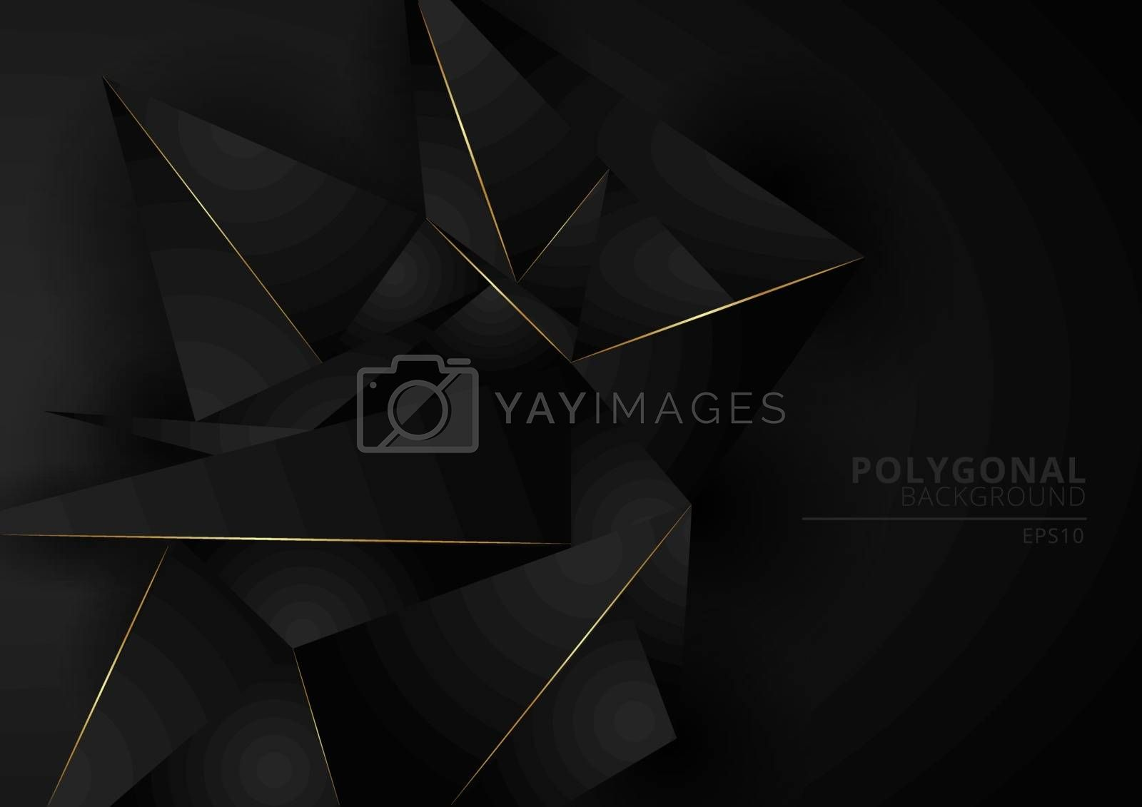 Abstract black geometric polygonal form background with golden line. Luxury style. Low poly triangles pattern and gold stripes. Vector illustration