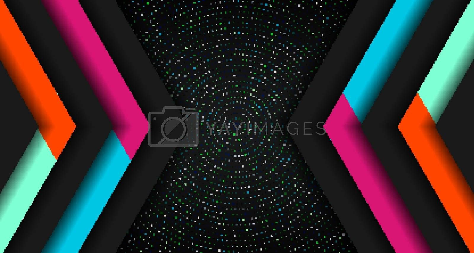 Abstract vibrant color triangle geometric overlap layer on glowing particles dots black background technology concept. Arrow shape direction colorful template for cover brochure, poster, banner web, flyer, presentation, etc. Vector illustration
