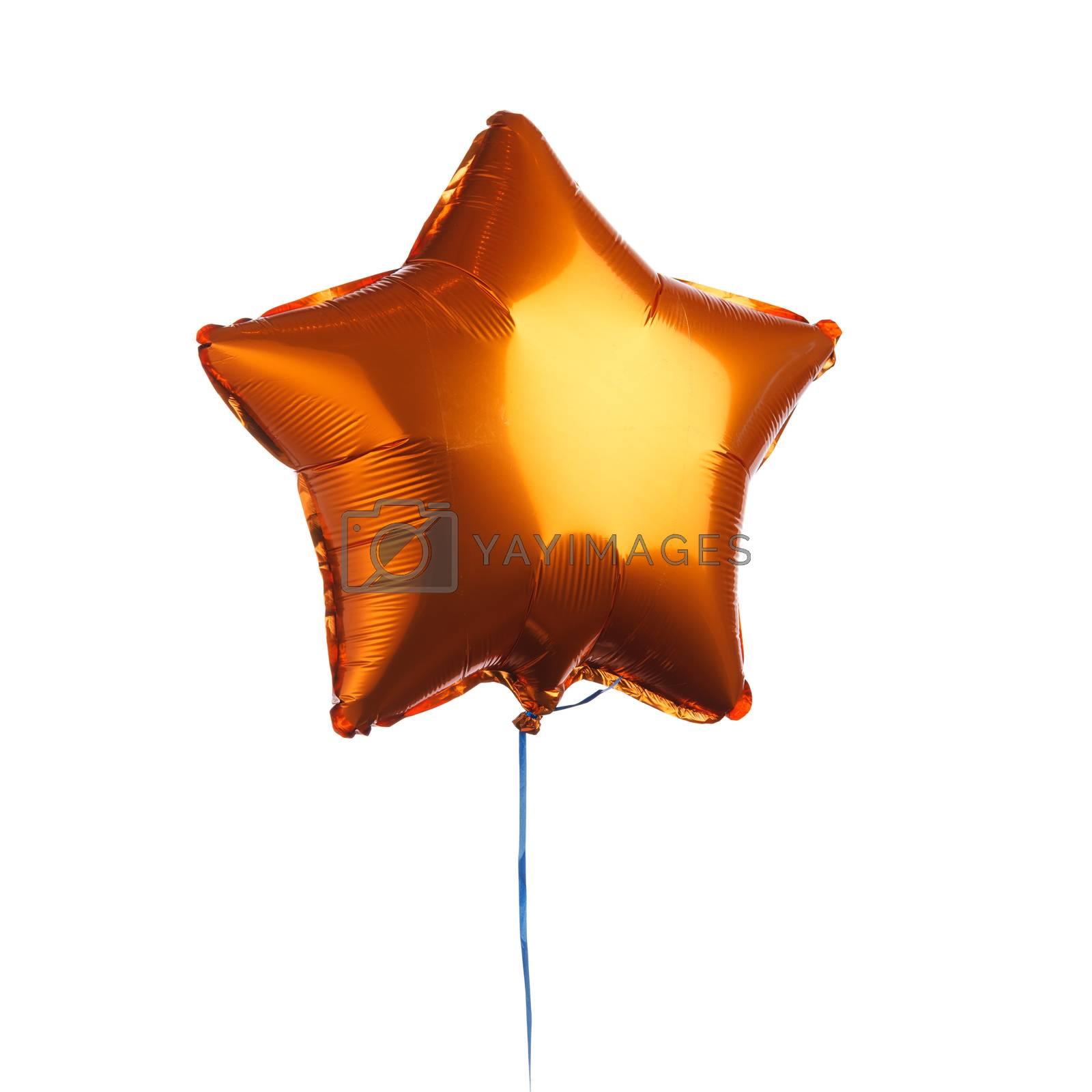 orange star balloon, isolated on white