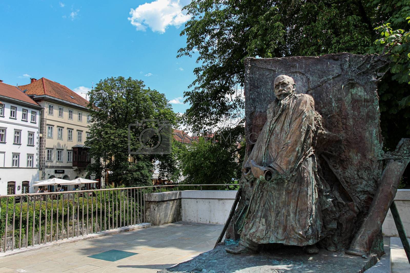 Ljubljana, Slovenia - July 16th 2018: Ivan Hribar Statue Sculpture in Justice Square, Ljubljana, Slovenia