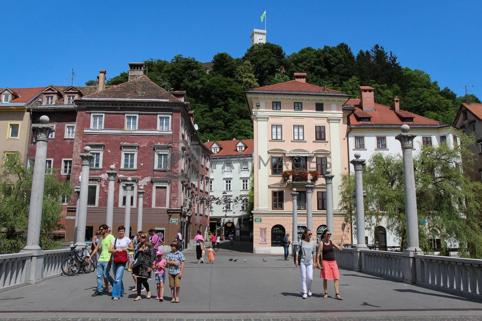 Ljubljana, Slovenia - July 16th 2018: Cobblers Bridge in central Ljubljana in summer, Slovenia
