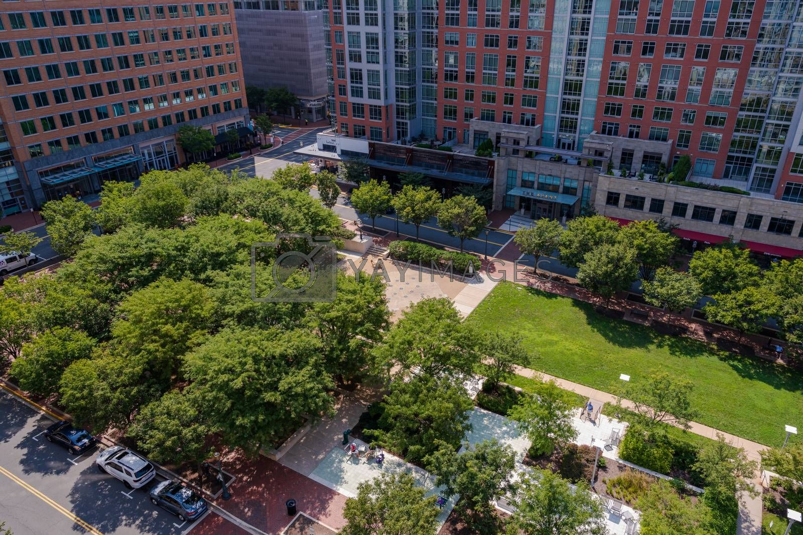 Reston, VA, USA -- August 26, 2020. A wide angle aerial photo of Reston Town Center Park in summer.