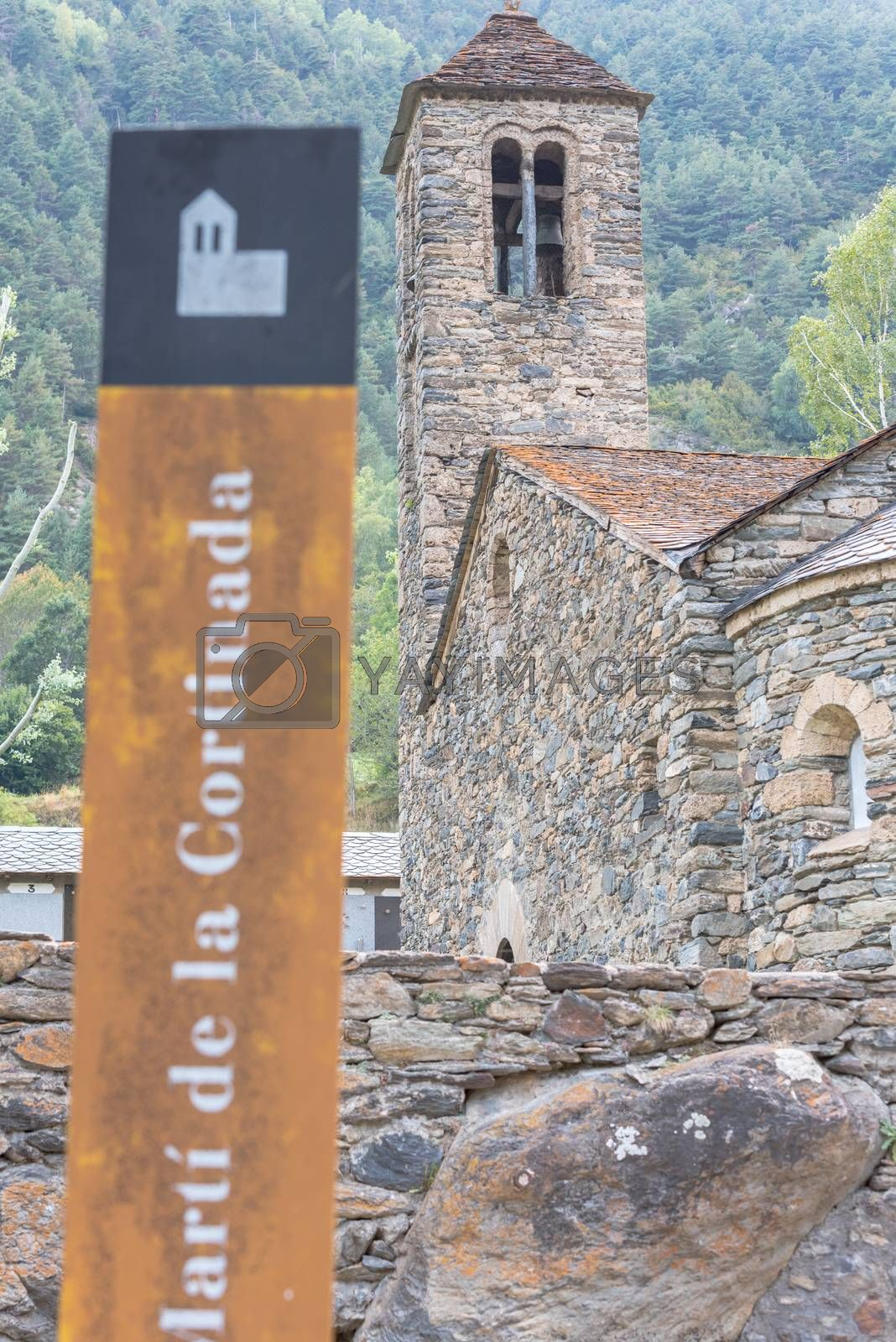 Ordino, Andorra: 26 August 2020: Church of Sant Marti de la Cortinada, Ordino, Andorra in Summer.