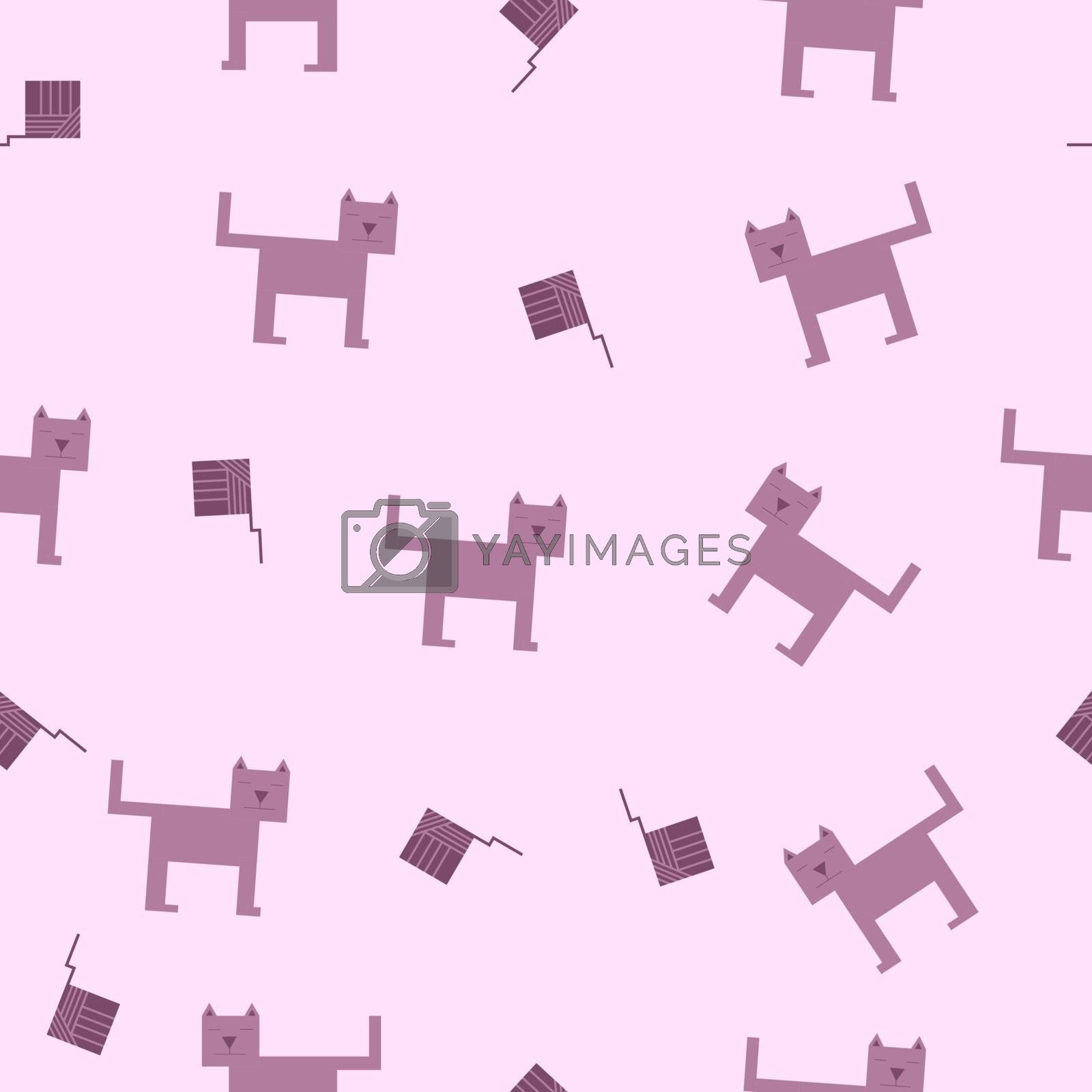 seamless pattern of cubic cat and square ball of wool.
