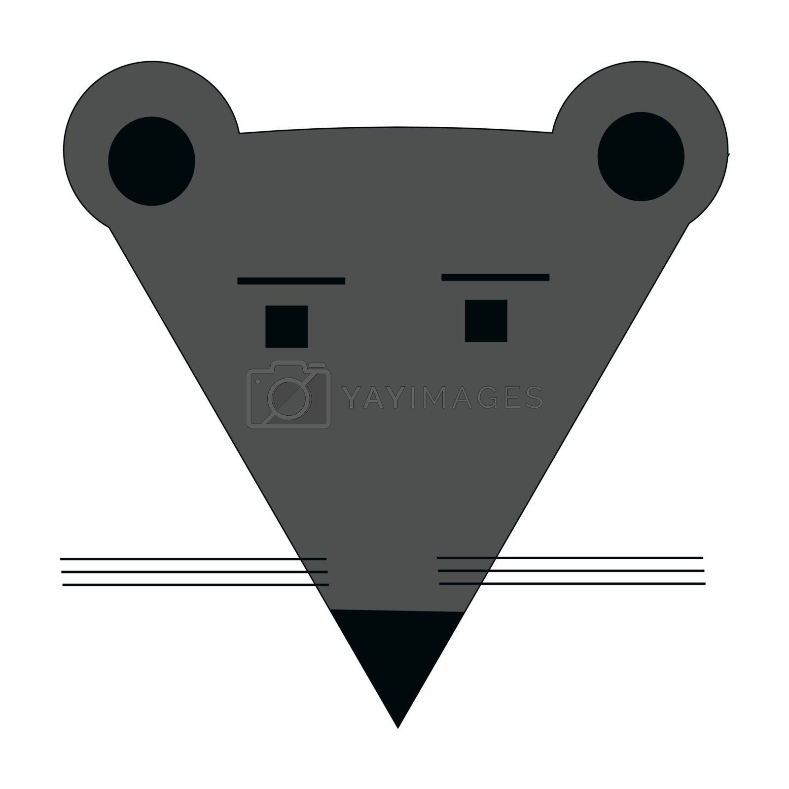 flat icon or icon in the form of a mouse face. Vector illustration.