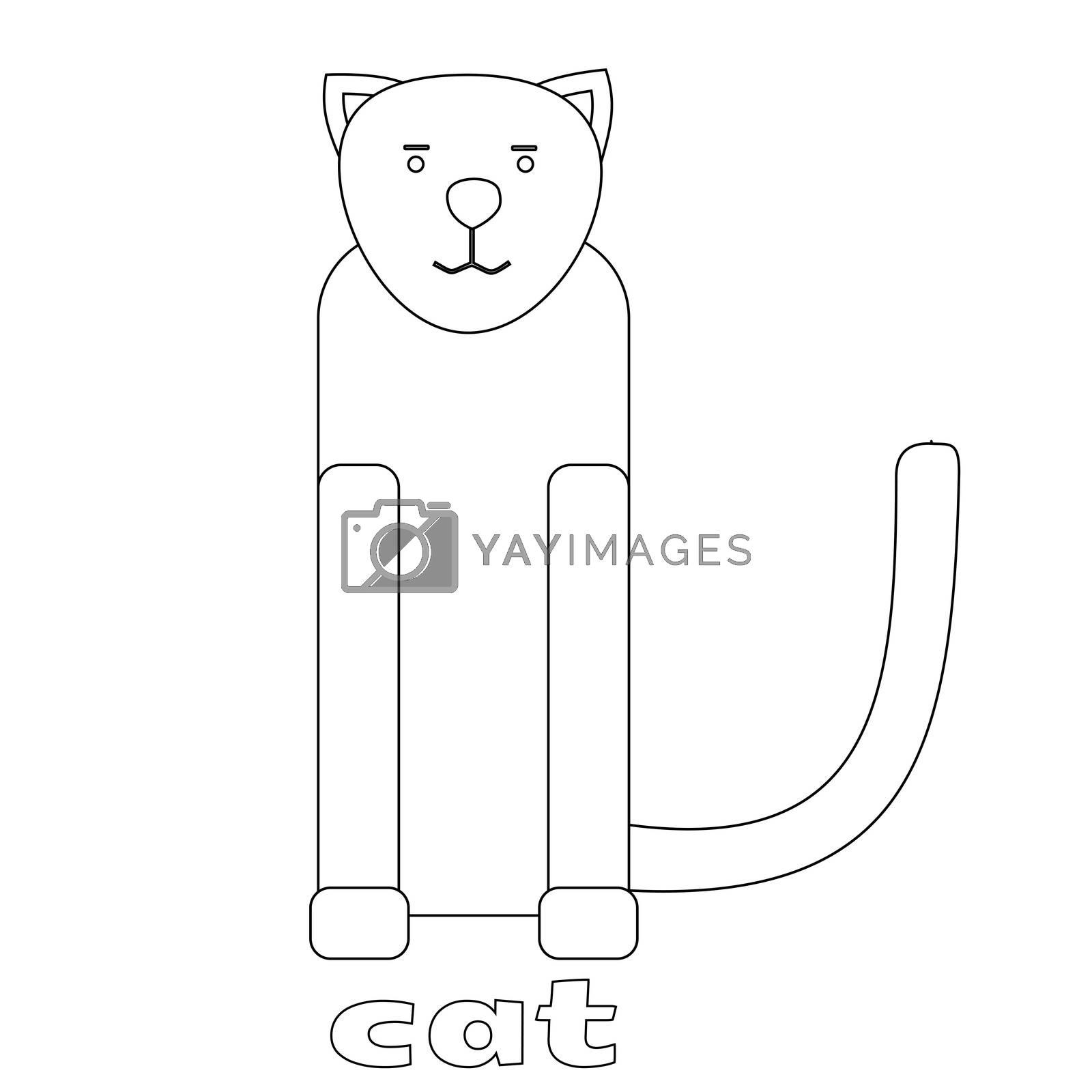 illustration of Cat cartoon - Coloring book.