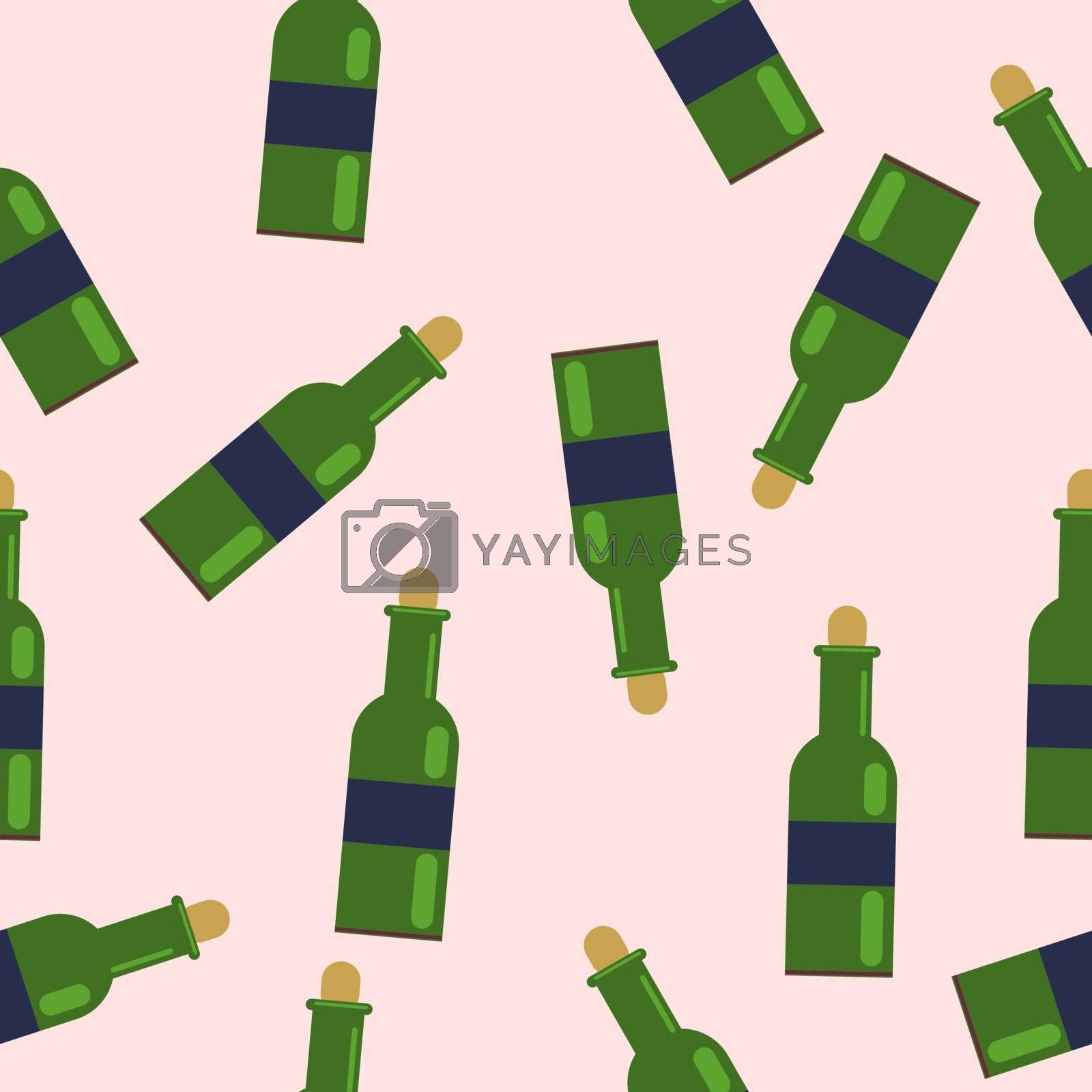 seamless pattern from green bottles. with grape wine. vector illustration in flat style.