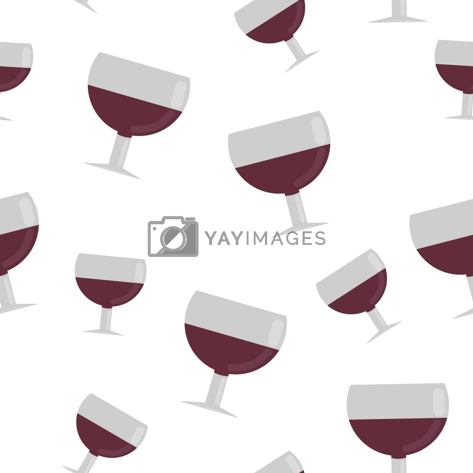 Seamless pattern from glasses of red wine. vector illustration in flat style