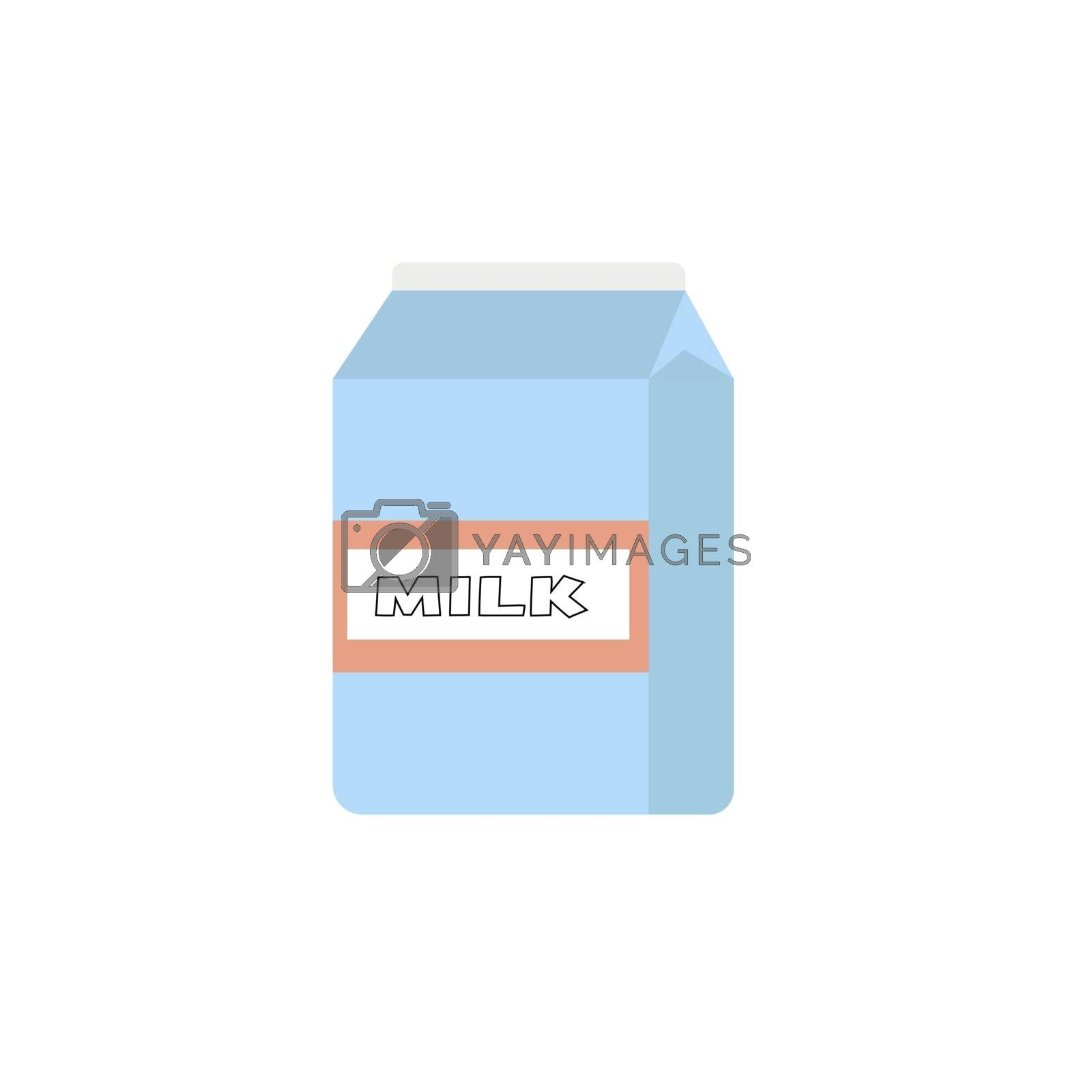 paper packet with milk isolated on white. vector illustration in flat style.