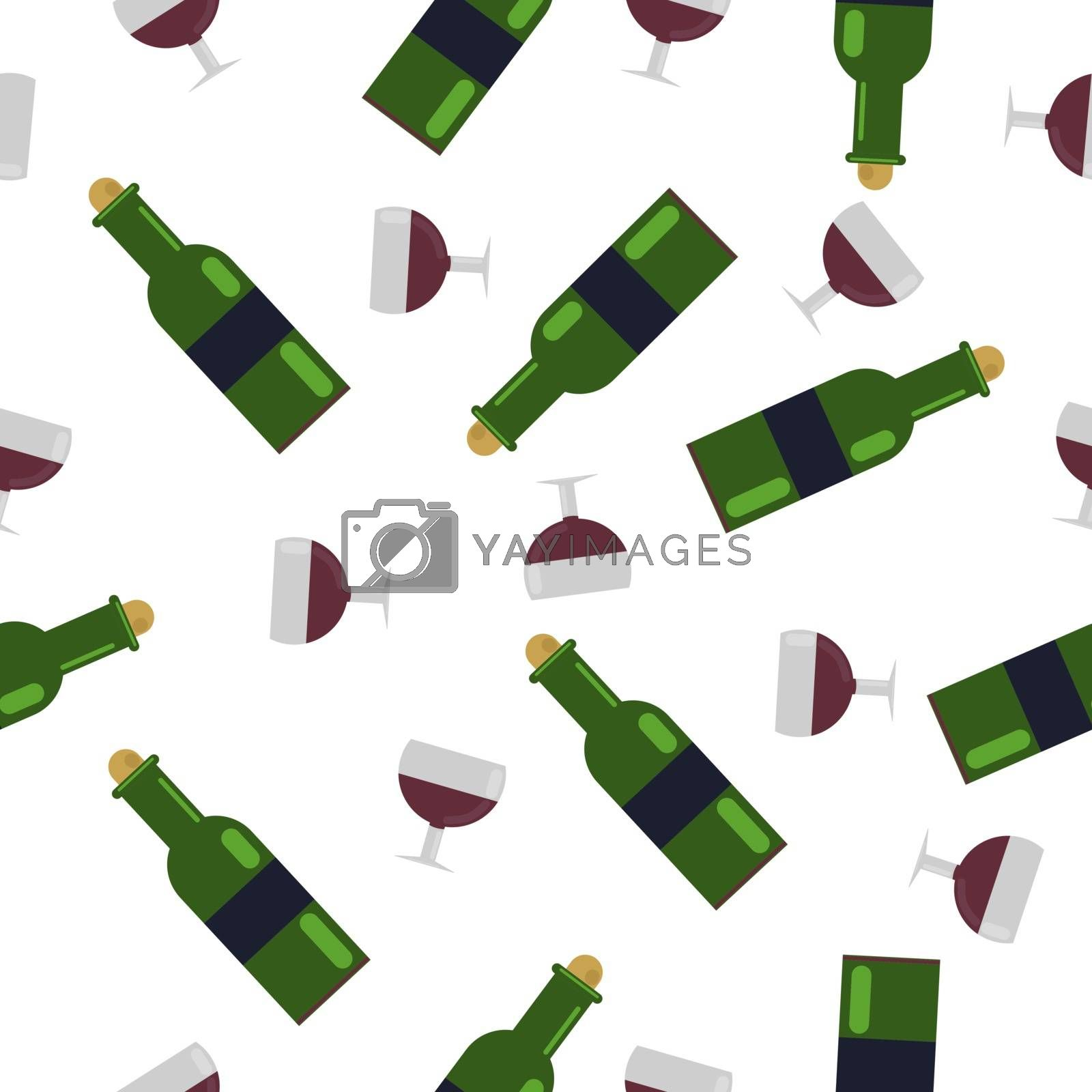 Seamless Pattern.a glass of wine and a green bottle. with grape wine. vector illustration in flat style.