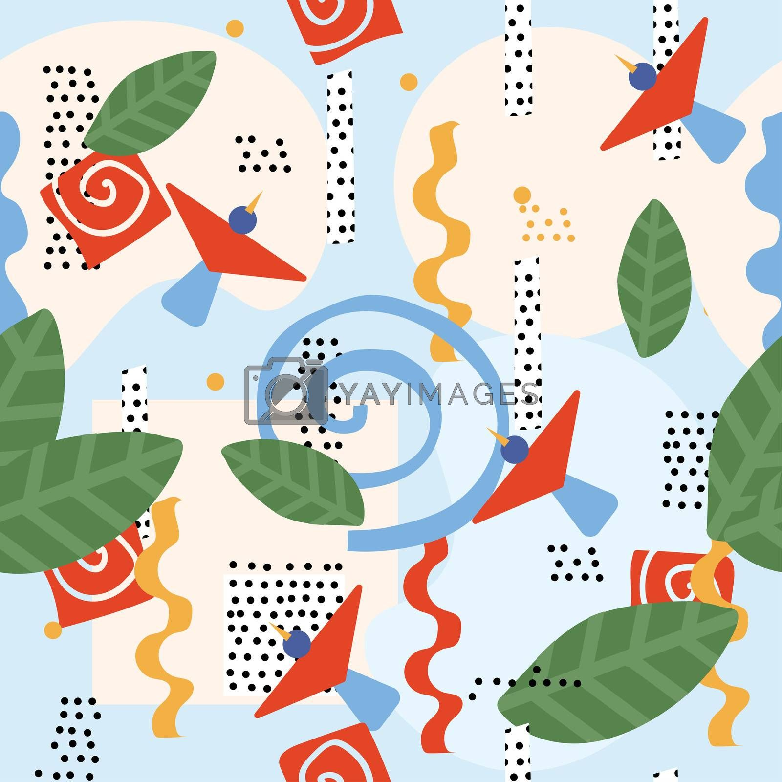 Bright colorful graphic floral pattern with birds in love in a hand-drawn style. Seamless pattern with birds and figures.