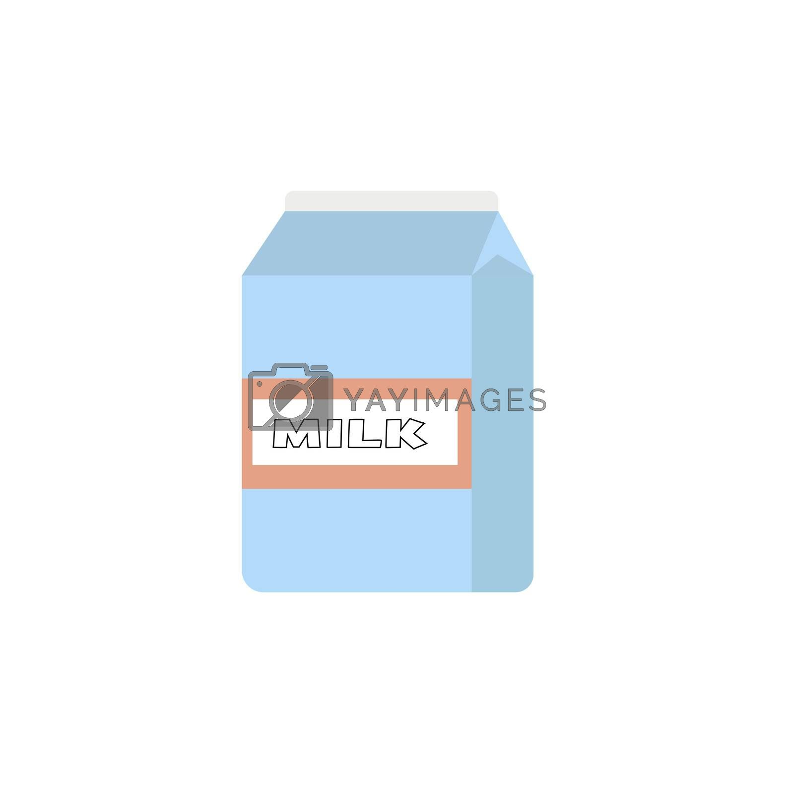 paper packet with milk isolated on white. illustration in flat style.