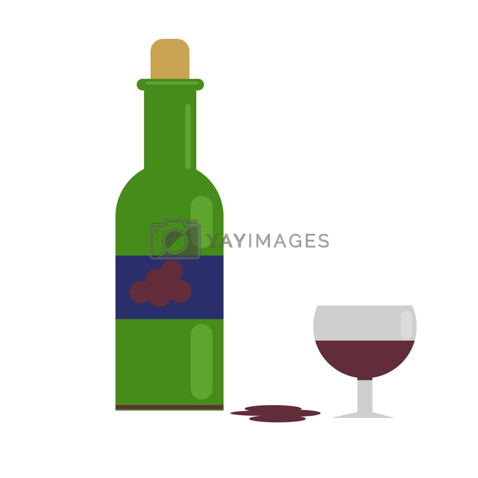 a wine and a green bottle. with grape wine. illustration in flat style.