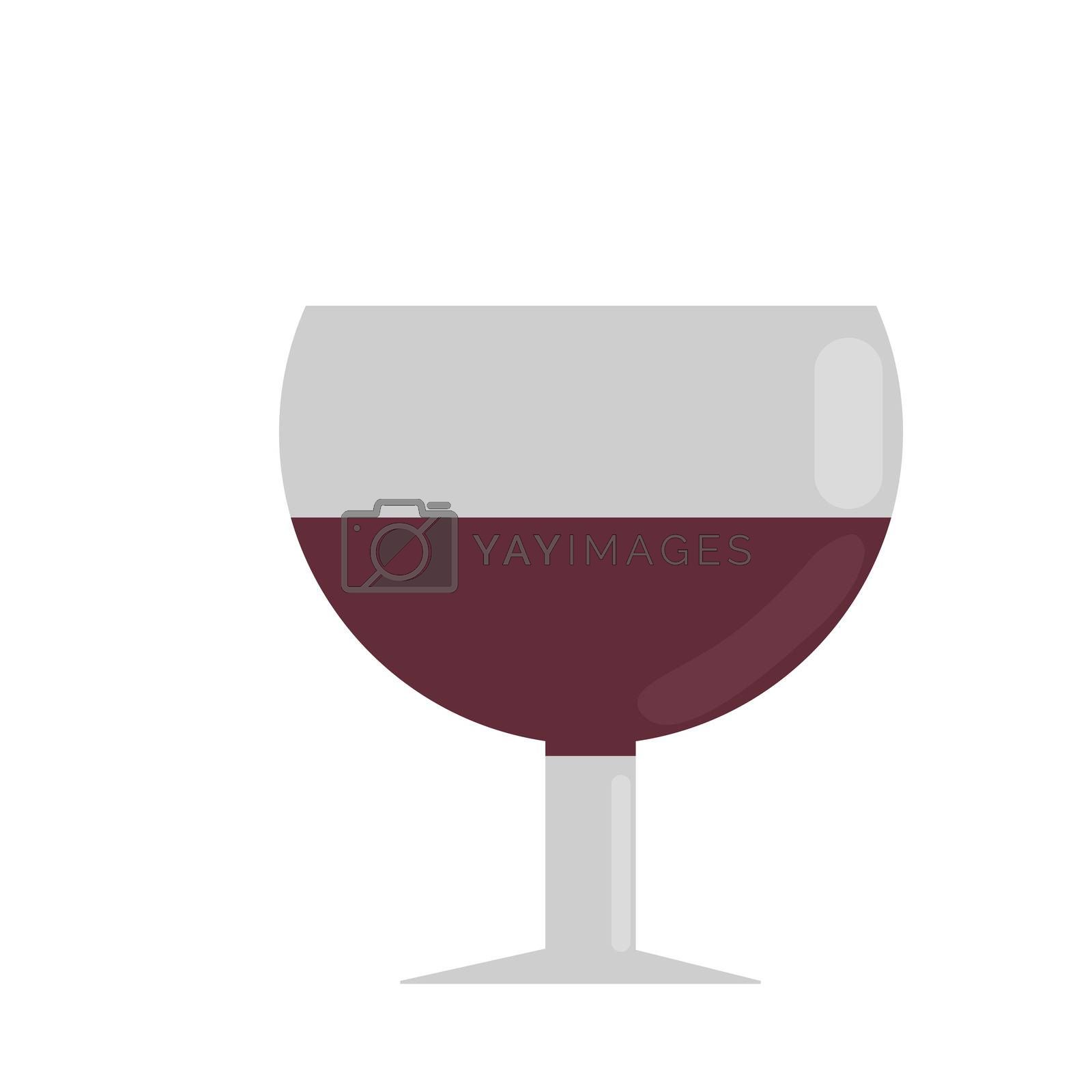 a glass of red wine. illustration in flat style.