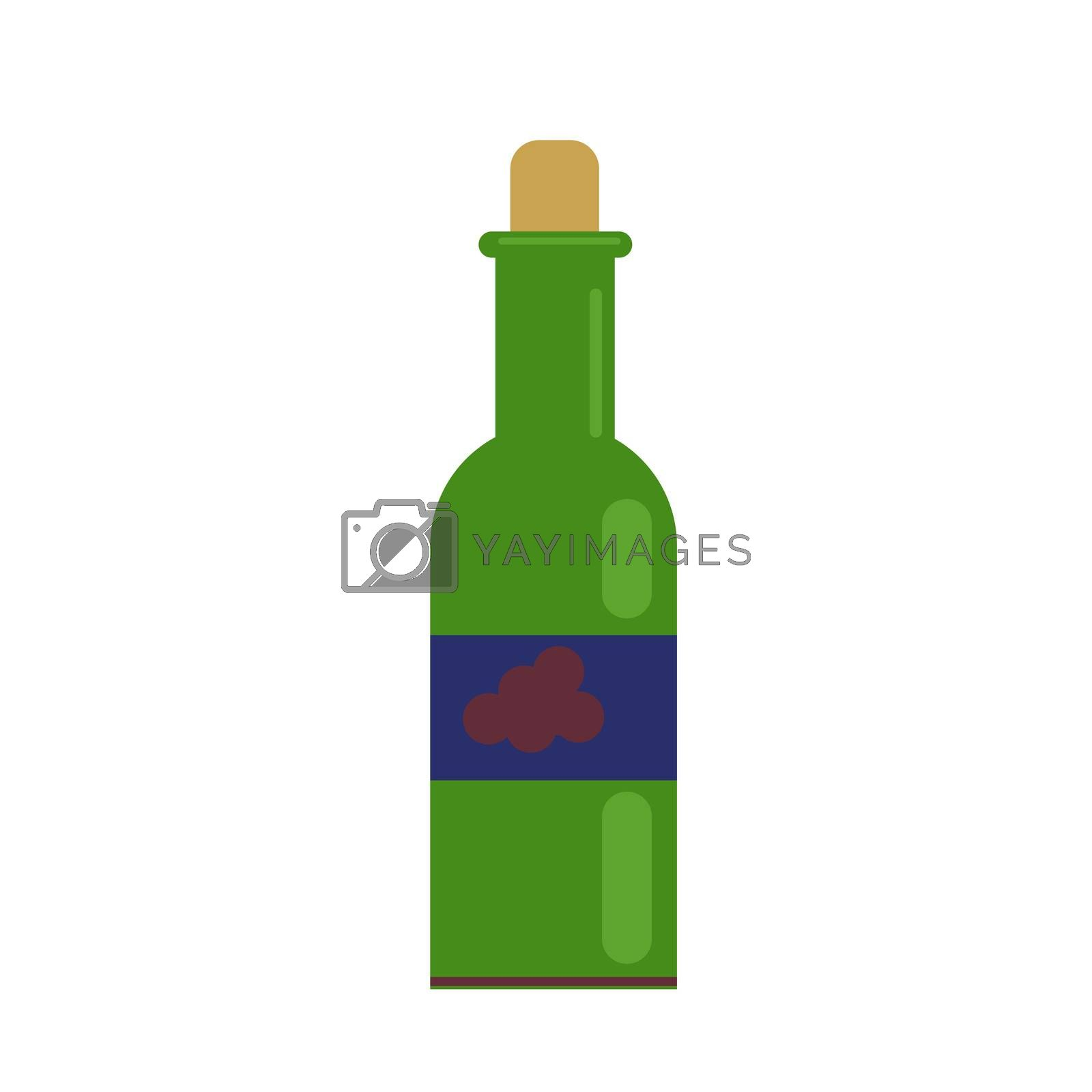 a glass of wine and a green bottle. with grape wine. illustration in flat style.