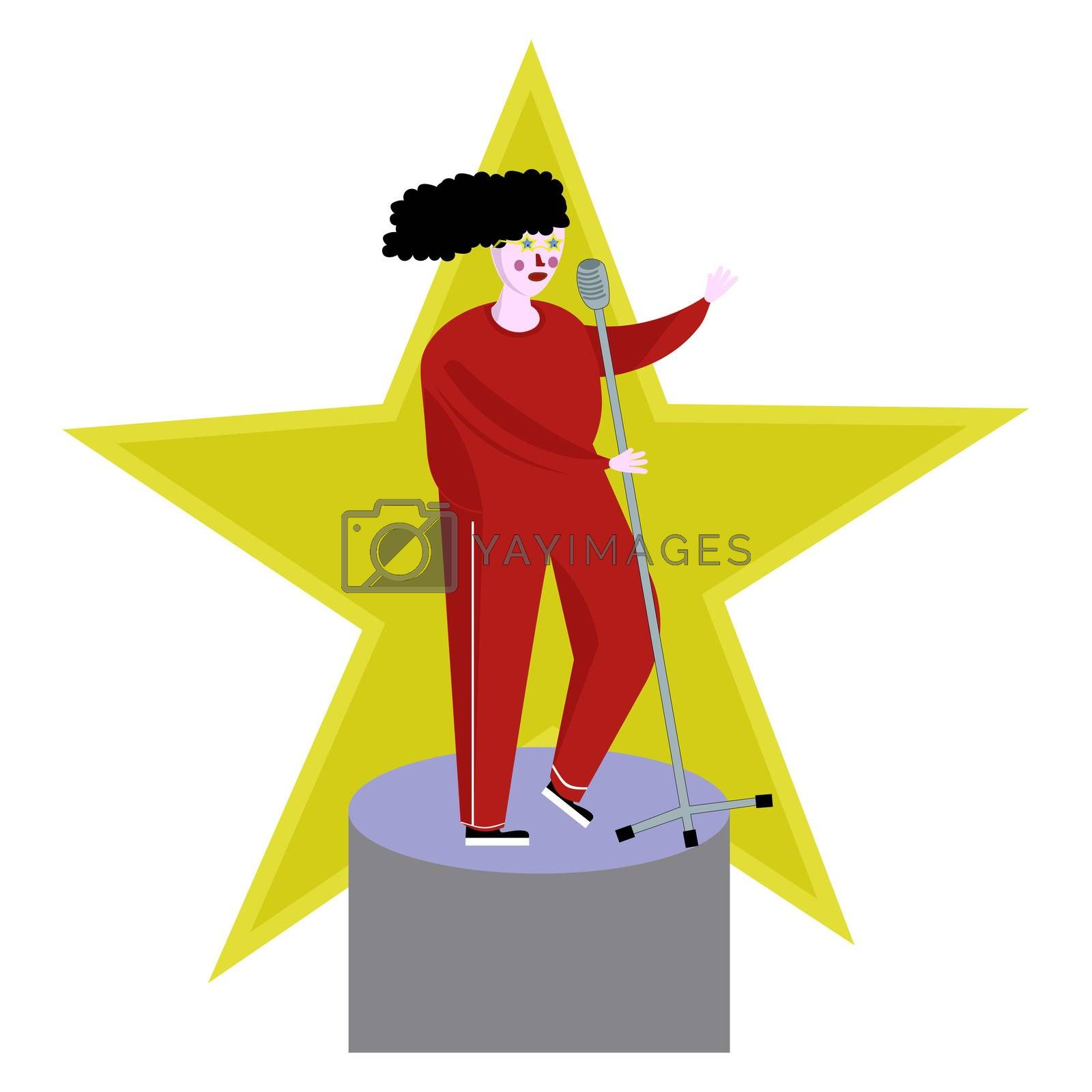 a singer in a tracksuit sings on stage and holds a microwon. illustration in cartoon flat style.