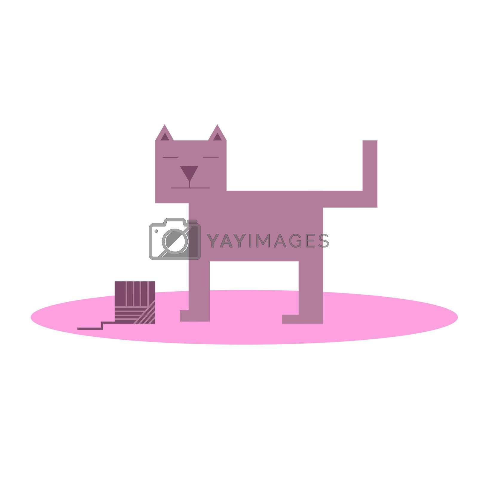 cubic light purple cat with a ball of wool