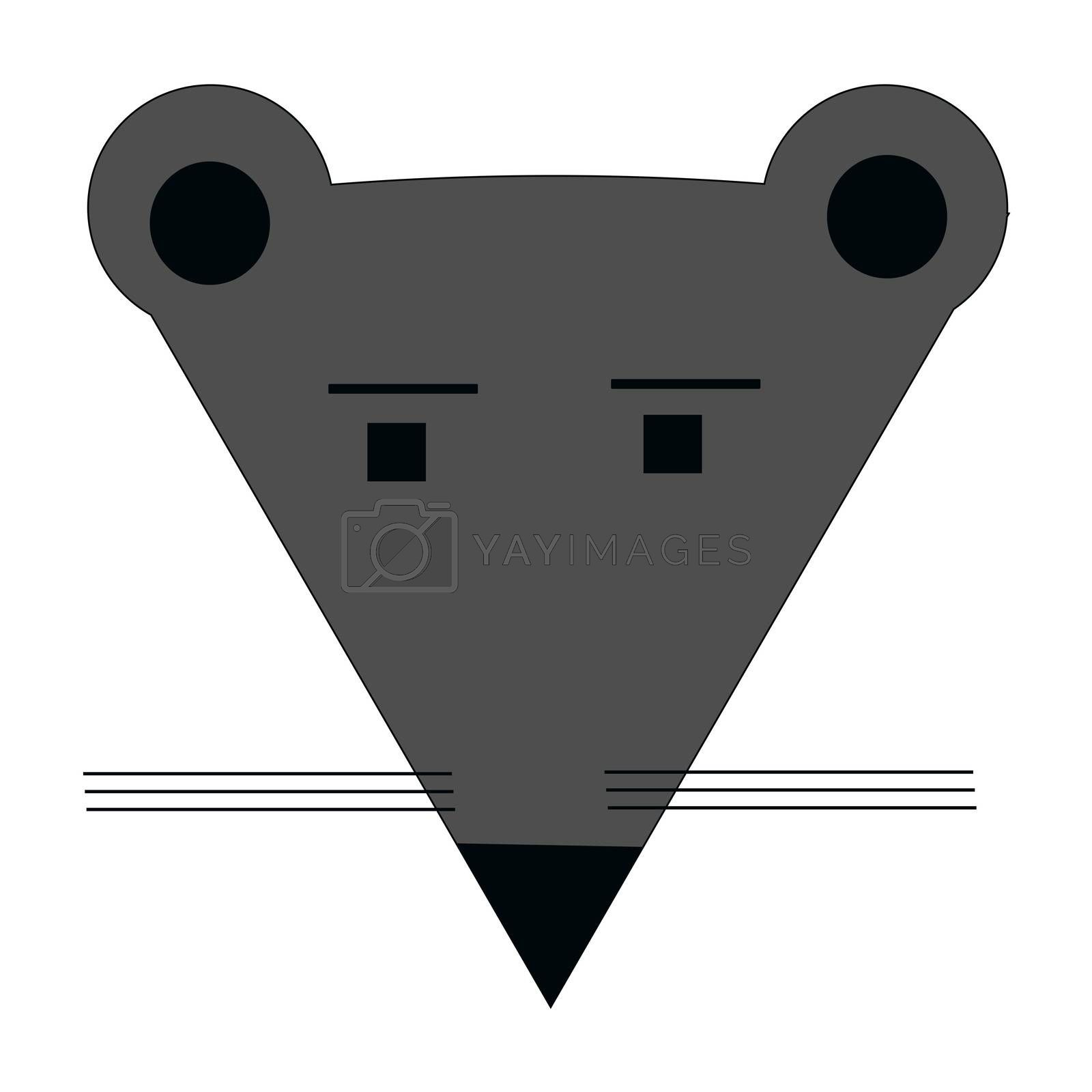 flat icon or icon in the form of a mouse face. illustration.