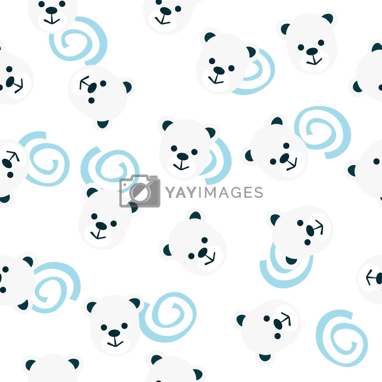 seamless pattern of bear heads and blue spirals.