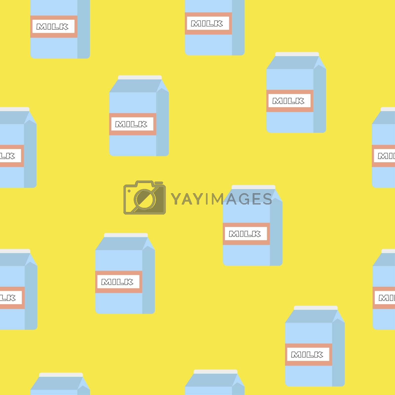 seamless pattern of paper boxes with milk on yellow background.