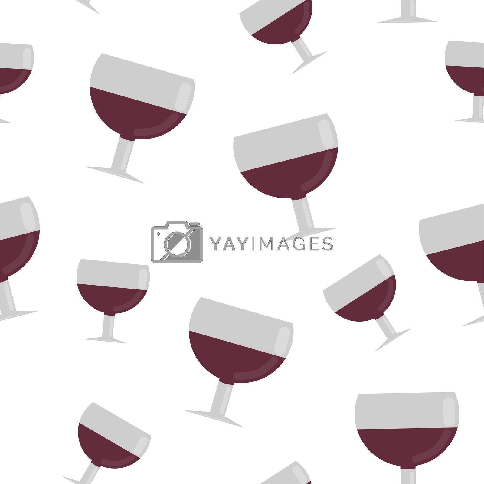 Seamless pattern from glasses of red wine. illustration in flat style