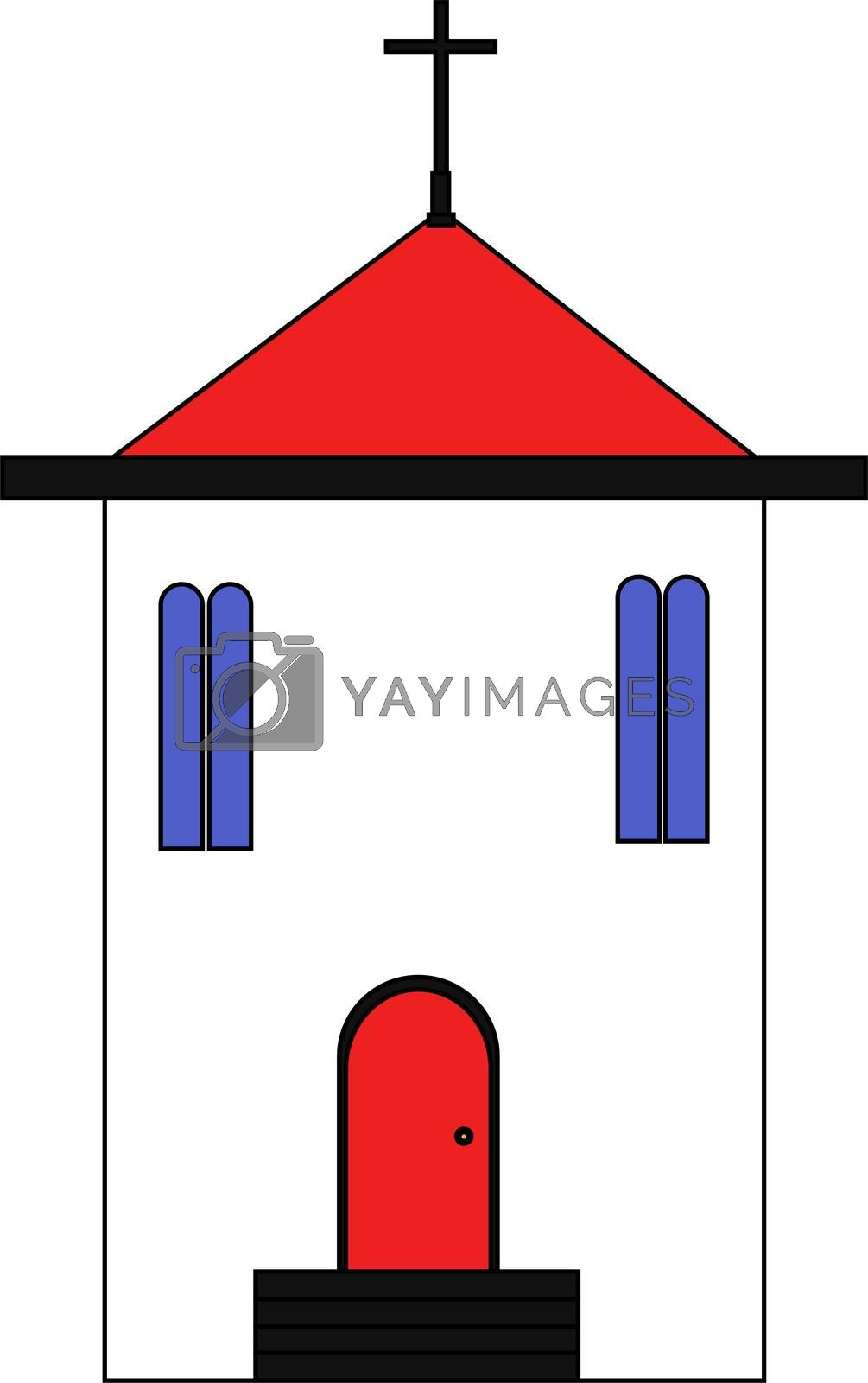 church with a red roof in flat style. illustration.