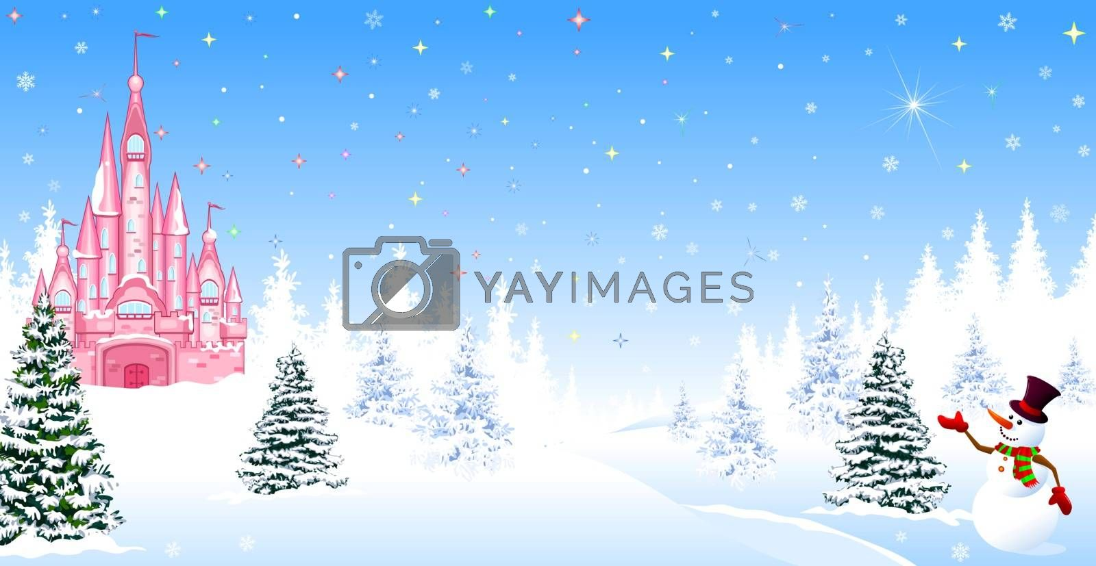 Christmas castle winter night forest snow snowman by liolle