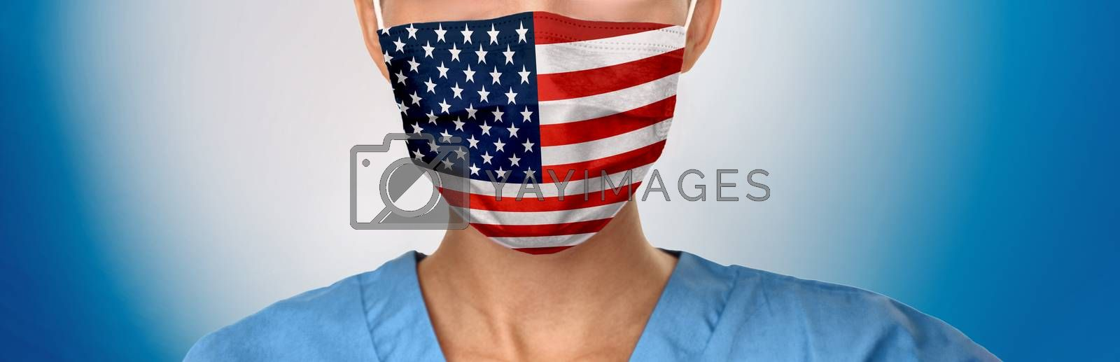 USA Flag pattern on medical face mask banner. American doctor wearing Corona virus protective covering as covid prevention in the United States of America. Panoramic concept for pandemic.