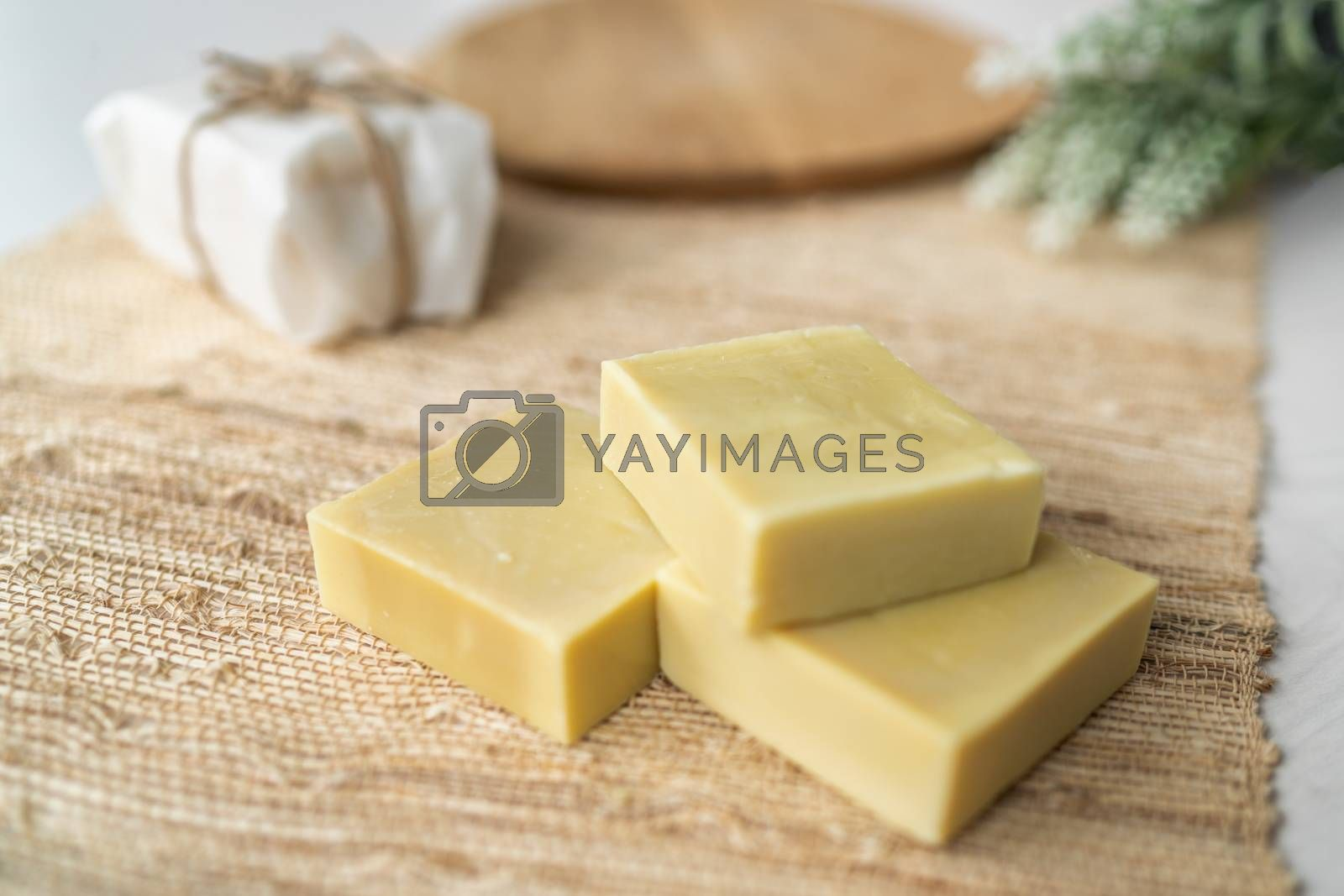 Handmade natural olive oil soap bars DIY homemade soap with lavender essentail oils - activity for what to do inside at home. Top view on decorative background.