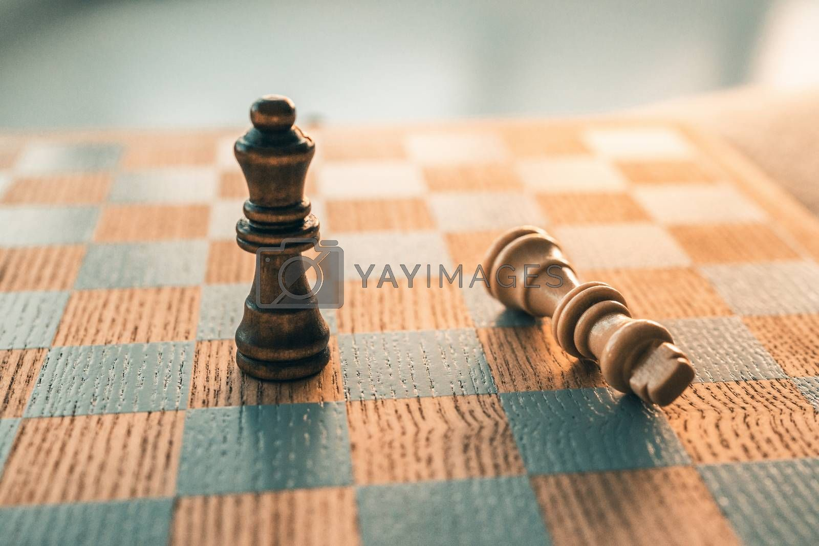 Chess game winning concept with last piece standing on chessboard wooden board.