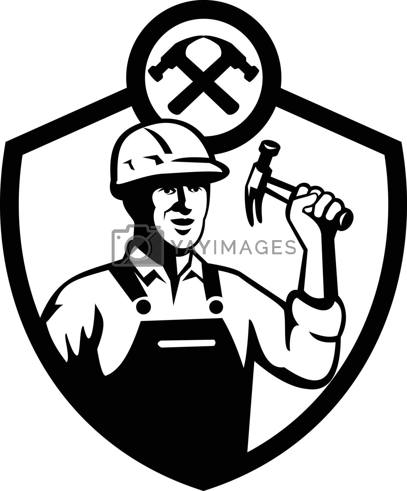 Black and white illustration of a carpenter builder holding hammer set inside shield crest shape on isolated white background done in retro style.
