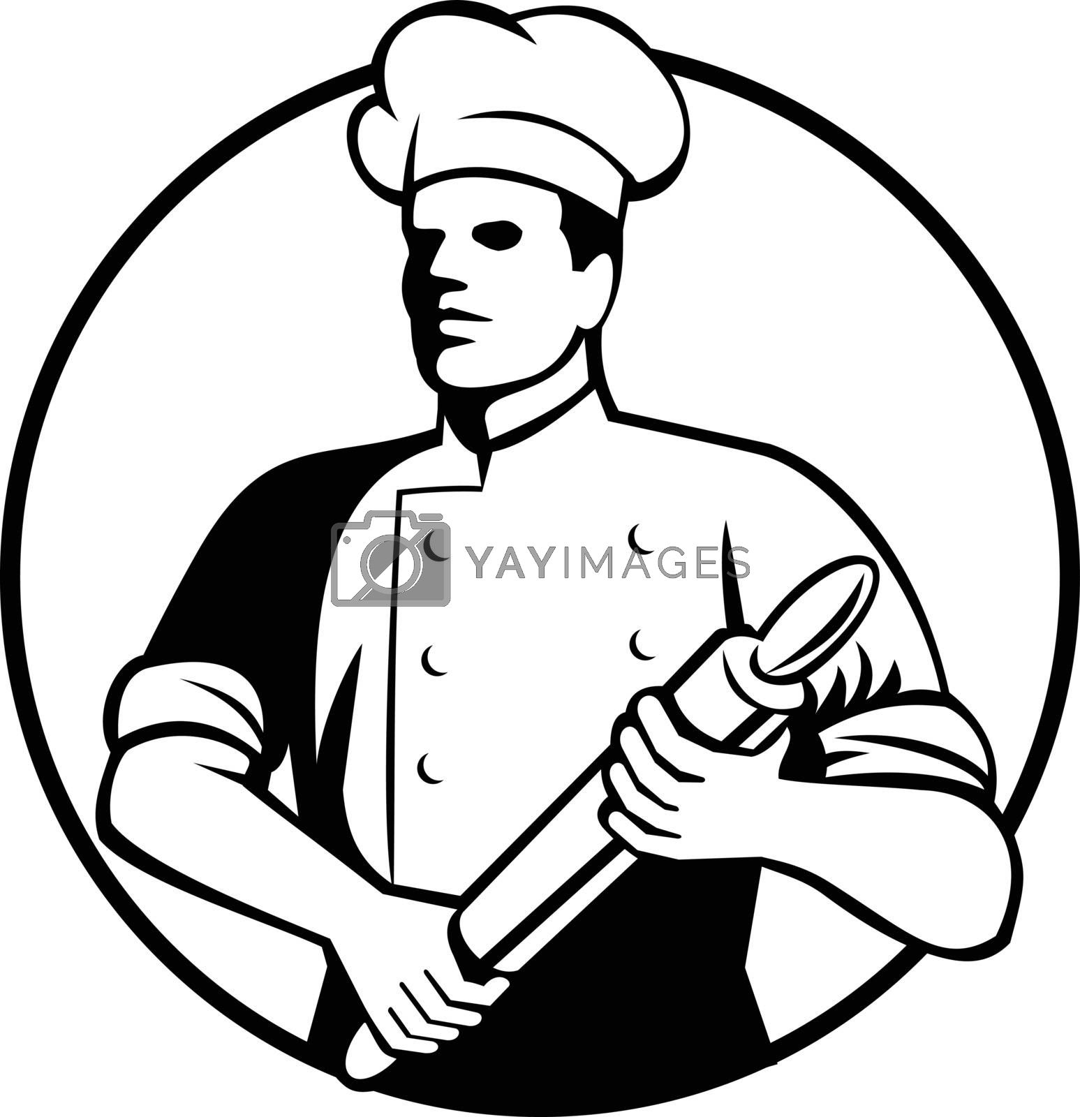 Retro black and white style illustration of a baker, chef, cook or food worker holding a rolling pin viewed from front set inside circle on isolated background.