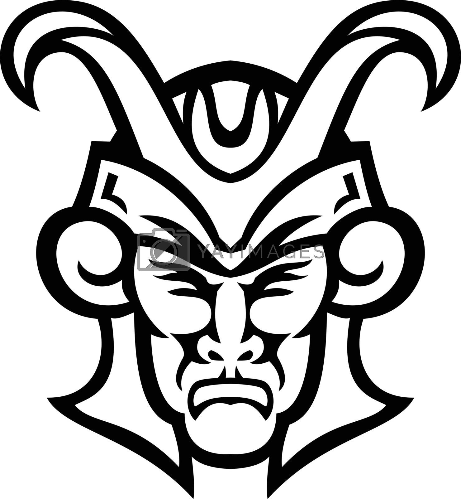 Black and white mascot illustration of head of Loki, a god in Norse mythology, who is a  shape shifter viewed from  front on isolated background in retro style.