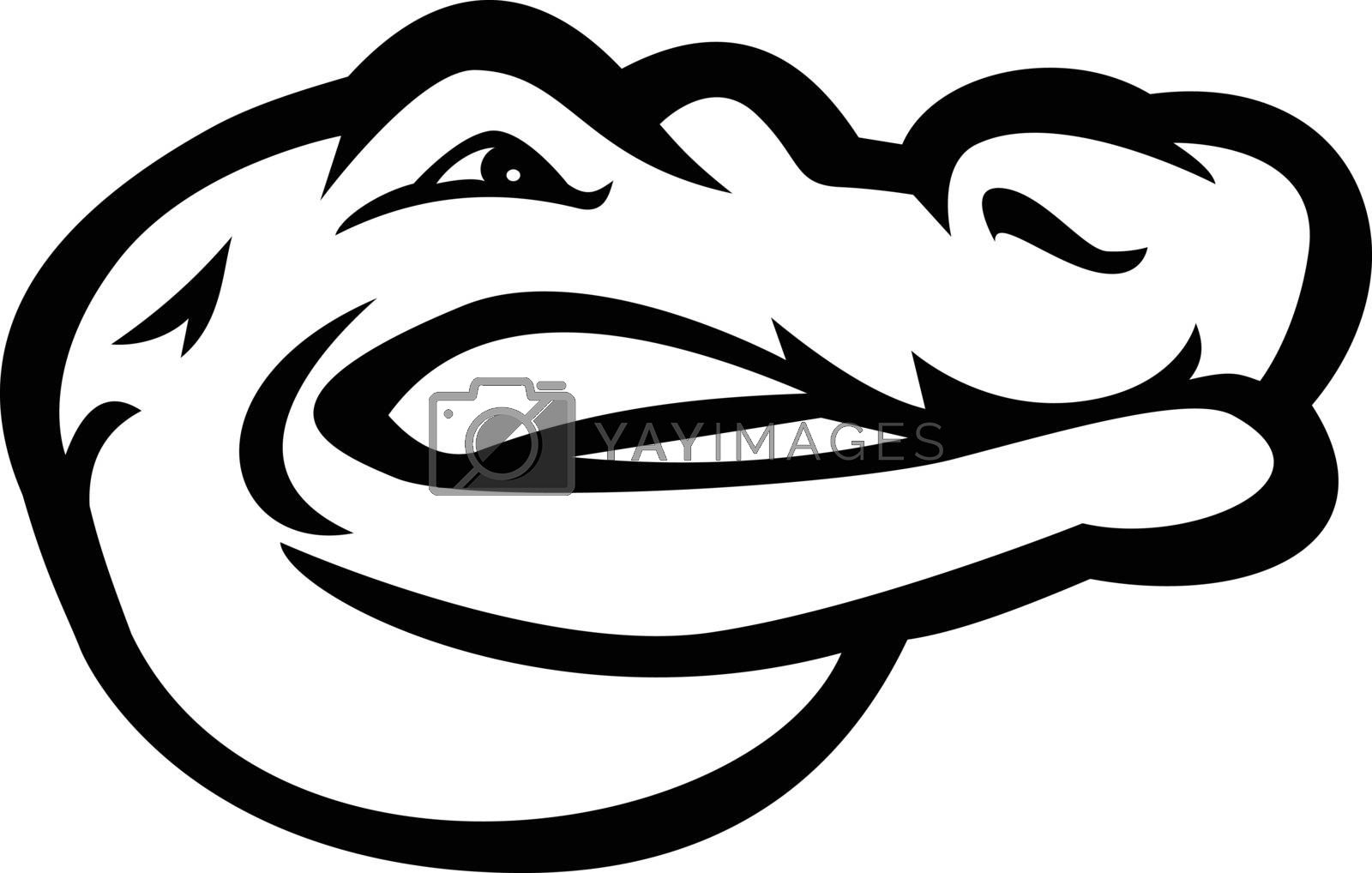 Black and white mascot illustration of head of an alligator, gator, crocodile or croc viewed and looking from side on isolated background in retro style.