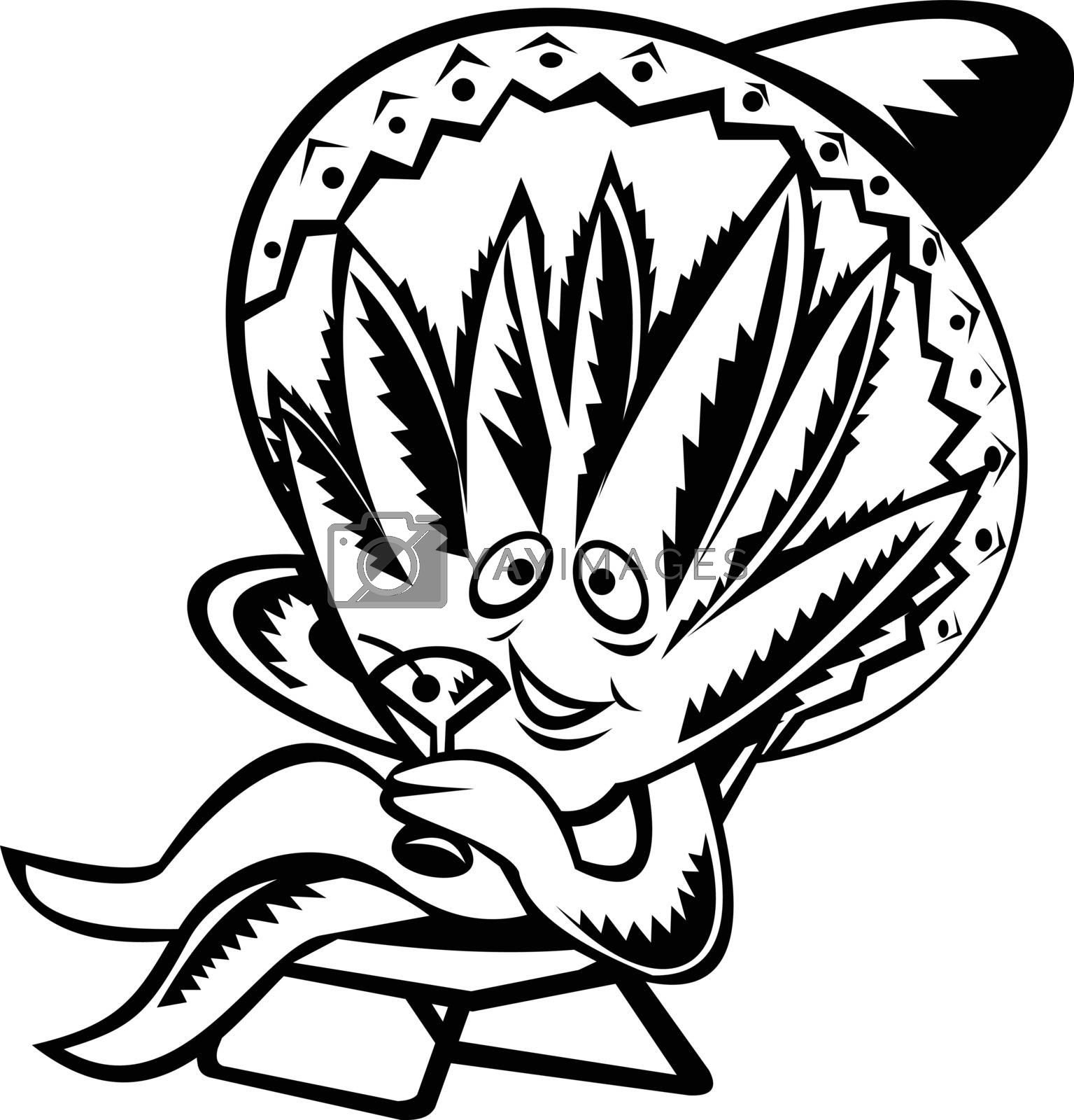 Retro woodcut style illustration of an Agave, genus of the family Asparagaceae, native to Mexico, wearing Mexican sombrero, sitting and sipping martini on isolated background done in black and white.