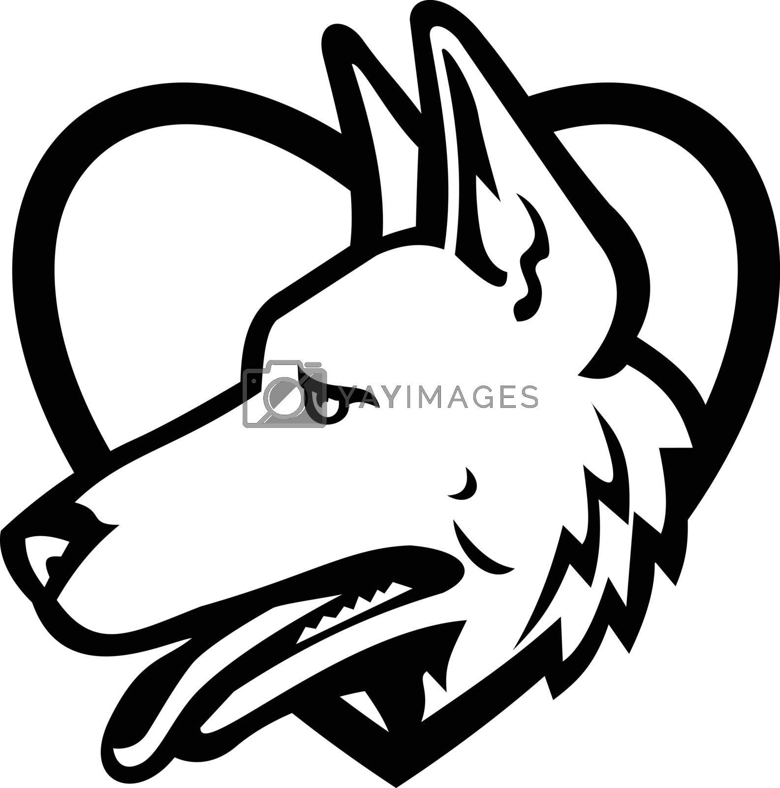 Black and white mascot illustration of head of a German Shepherd or Alsatian wolf dog set inside heart shape viewed from side on isolated background in retro style.