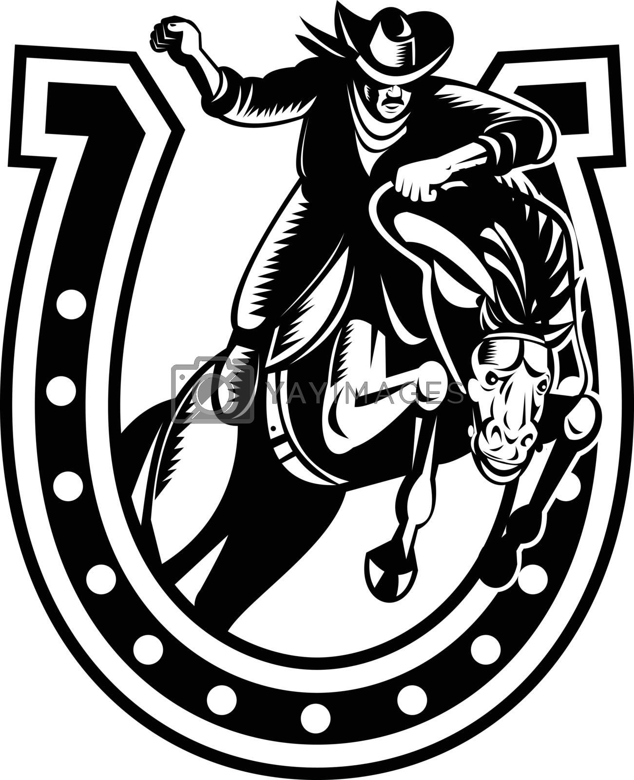Retro woodcut style illustration of a rodeo cowboy on horseback riding horse jumping over horseshoe on isolated background done in black and white.