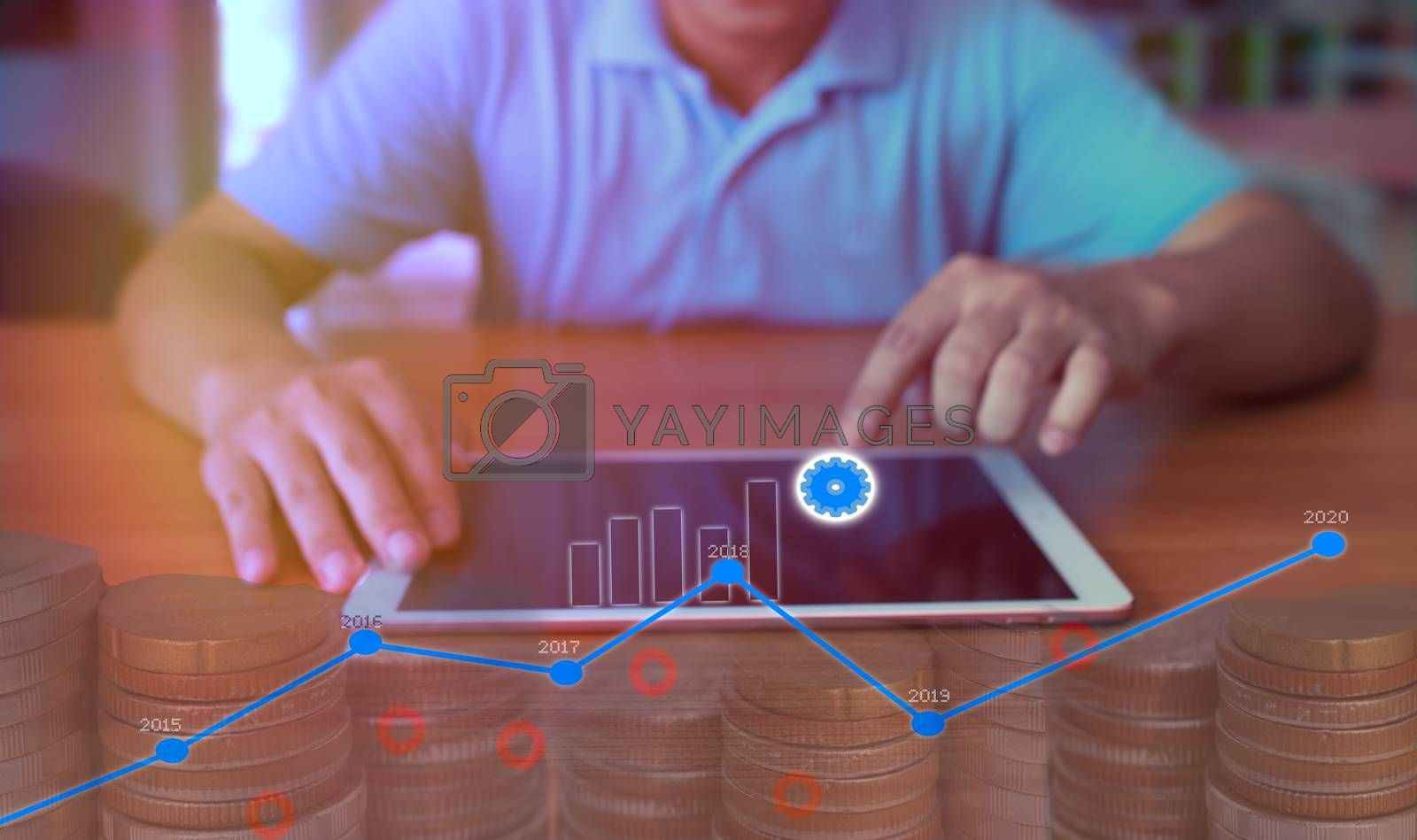 On-screen digital marketing concept showing investment growth.