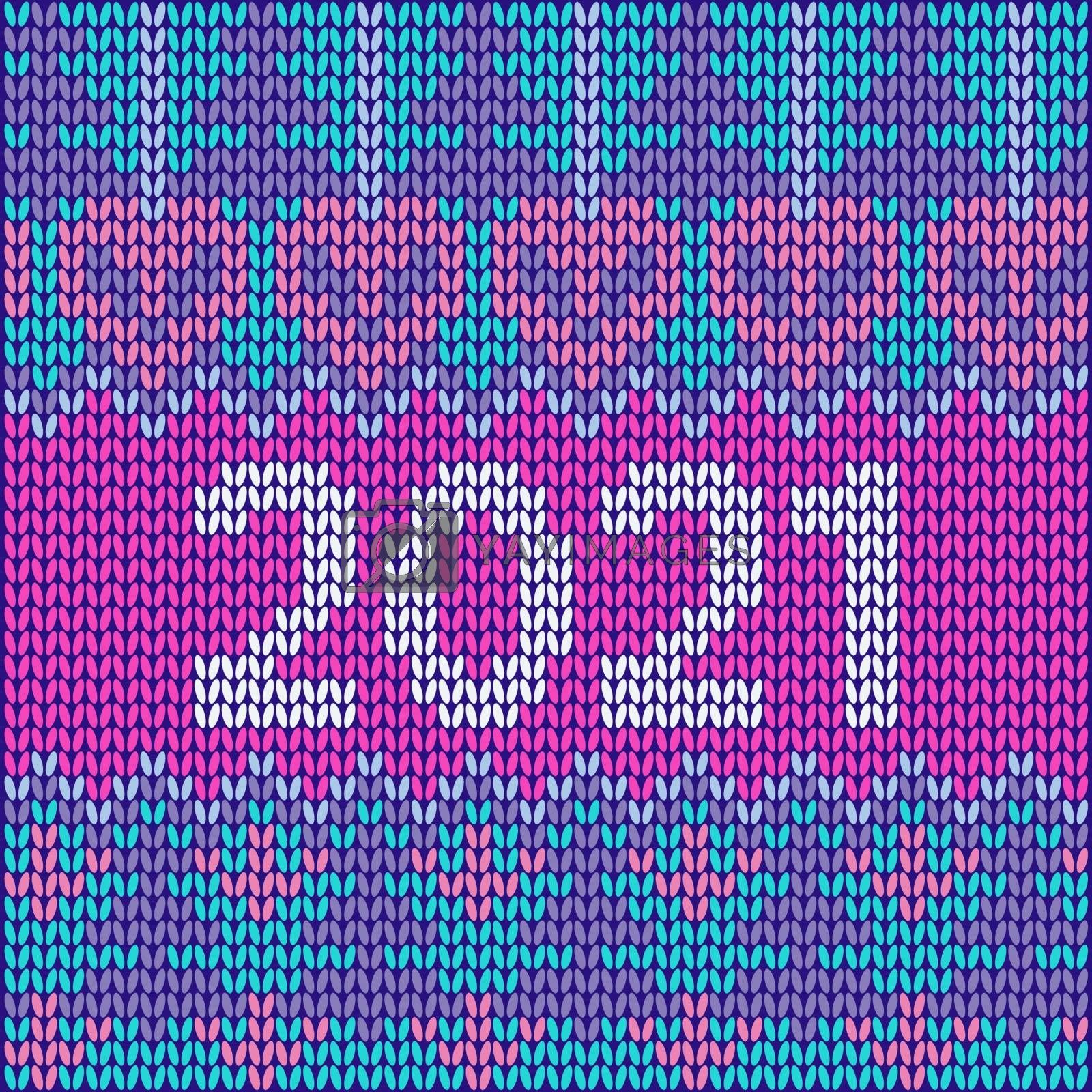 New Year's ornament for knitting Scandinavian style knitted pattern. Poster 2021 Perfect for wallpaper, wrapping paper, pattern fills, winter greetings, web background, Christmas greeting cards.