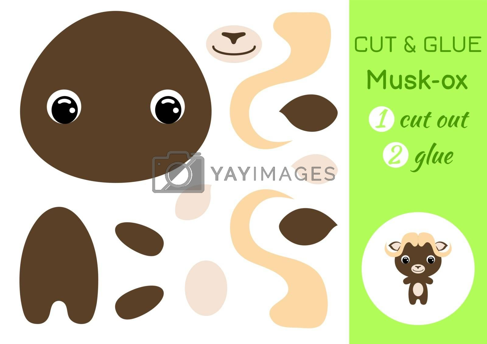 Cut and glue baby musk-ox. Education developing worksheet. Color paper game for preschool children. Cut parts of image and glue on paper. Cartoon character. Colorful vector stock illustration.