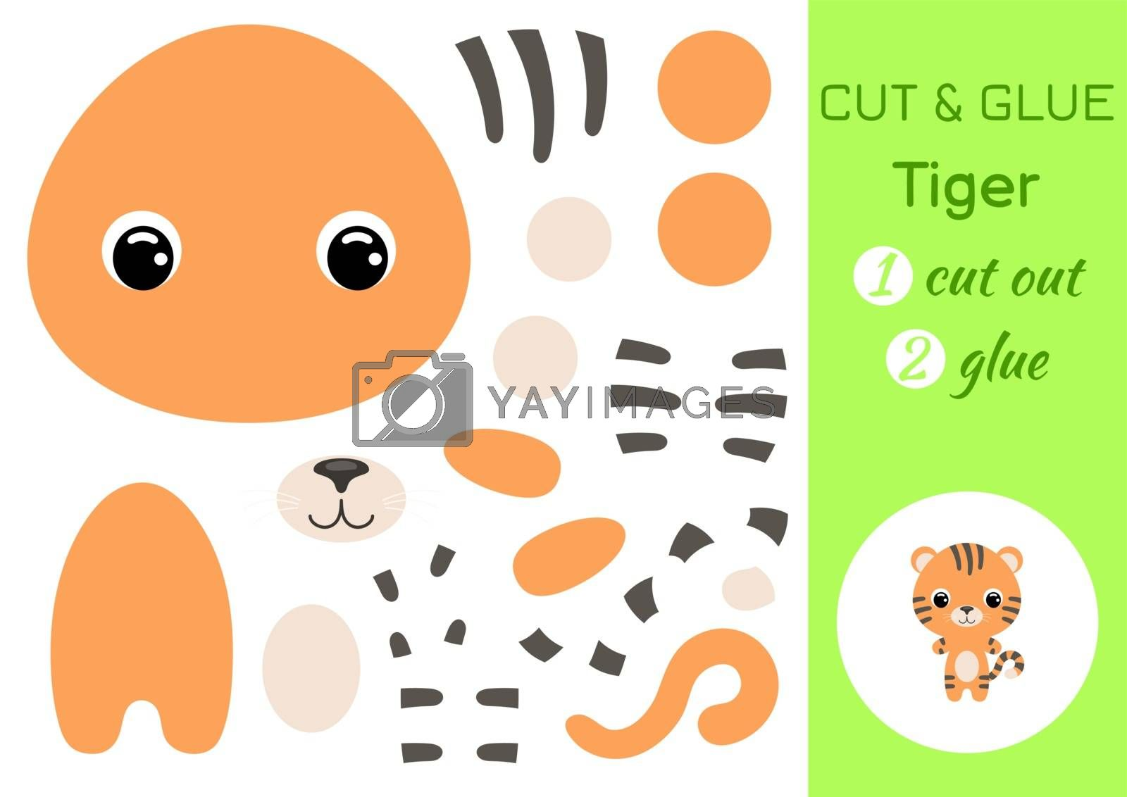 Cut and glue baby tiger. Education developing worksheet. Color paper game for preschool children. Cut parts of image and glue on paper. Cartoon character. Colorful vector stock illustration.