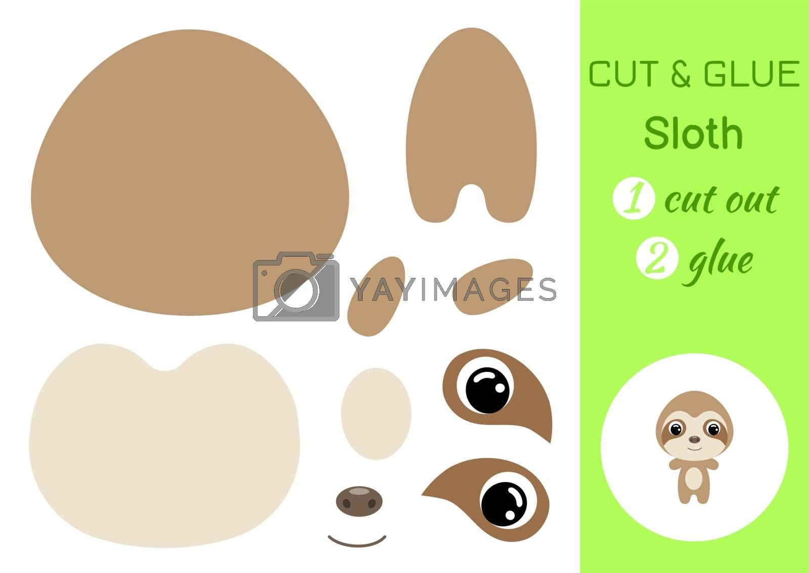 Cut and glue baby sloth. Education developing worksheet. Color paper game for preschool children. Cut parts of image and glue on paper. Cartoon character. Colorful vector stock illustration.